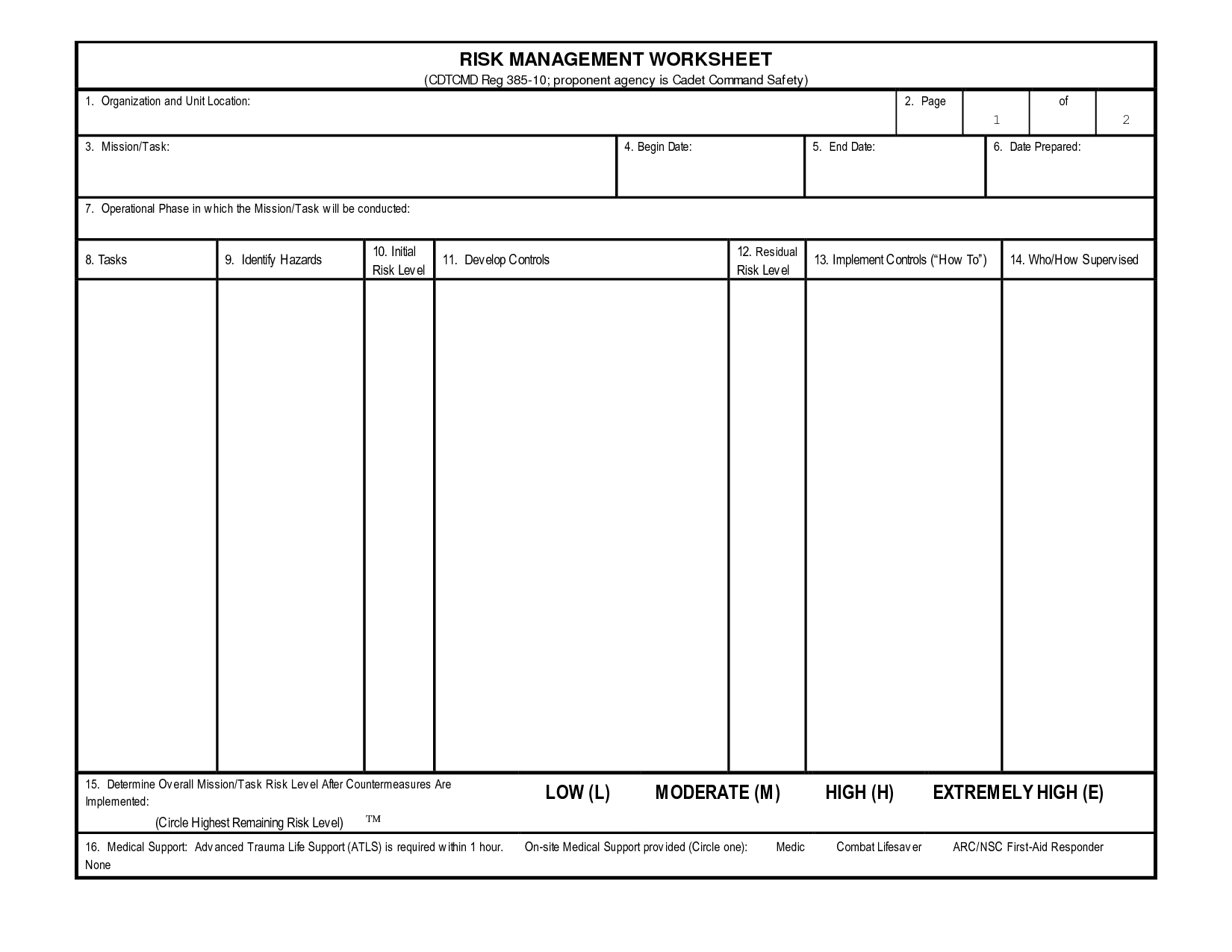 Blank Army Risk Assessment Form Pictures To Pin