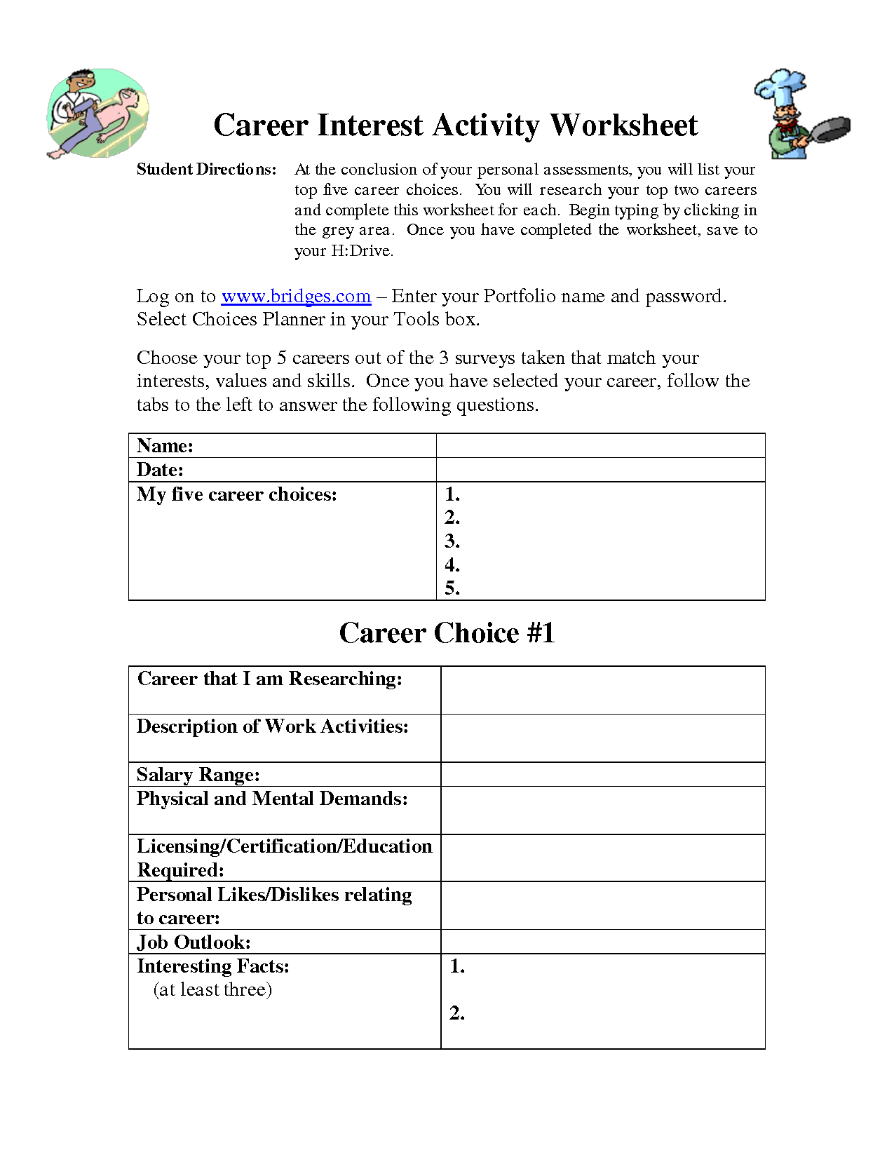 Witty Career Exploration Worksheets Printable