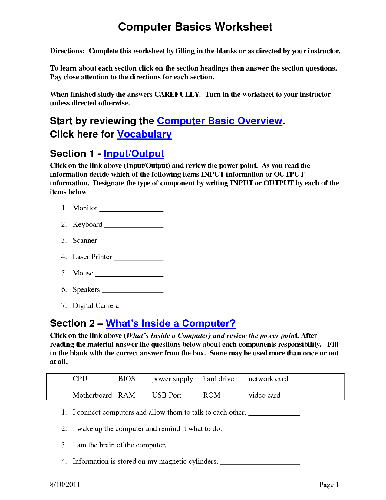 17 Best Images Of Basic Computer Skills Worksheets