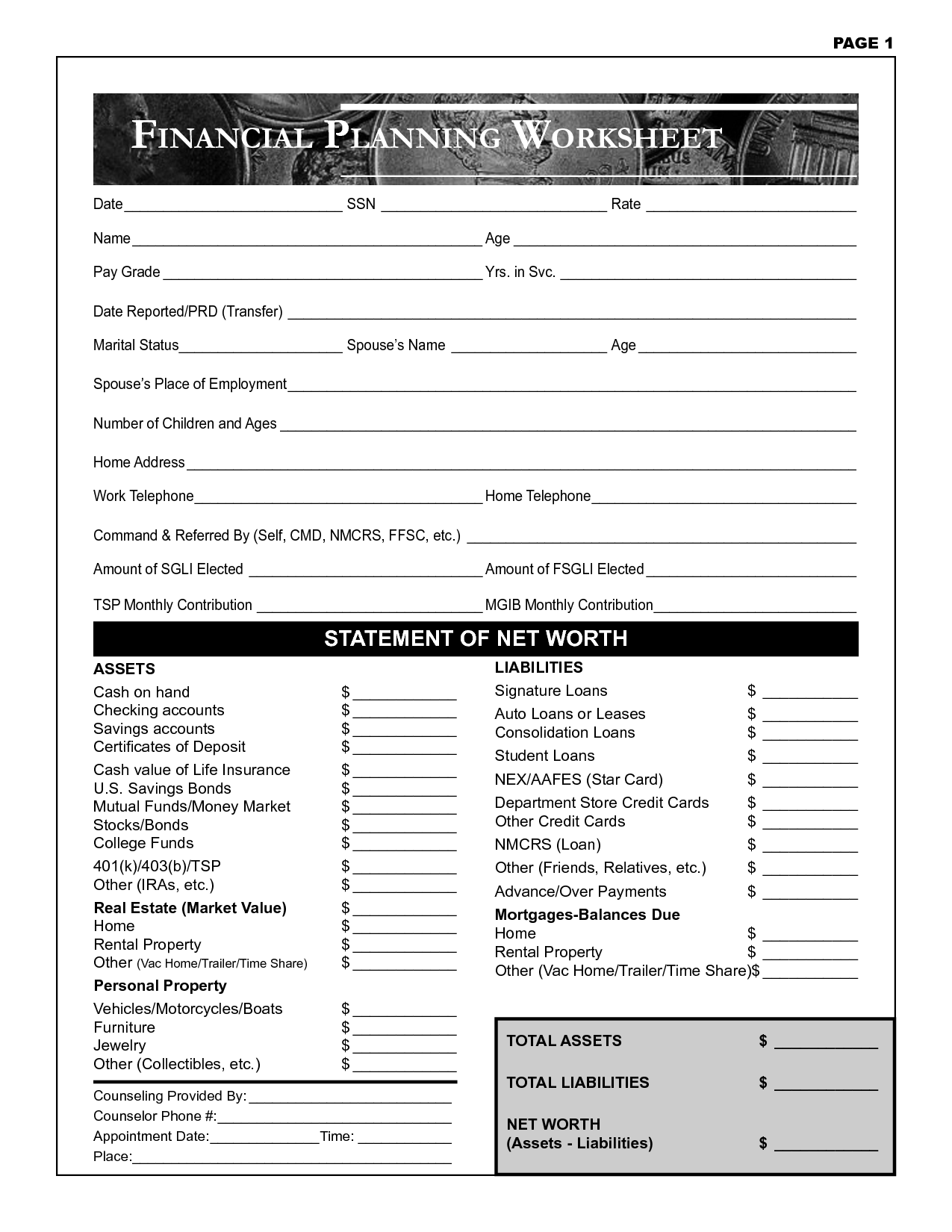 Finance Planning Worksheet