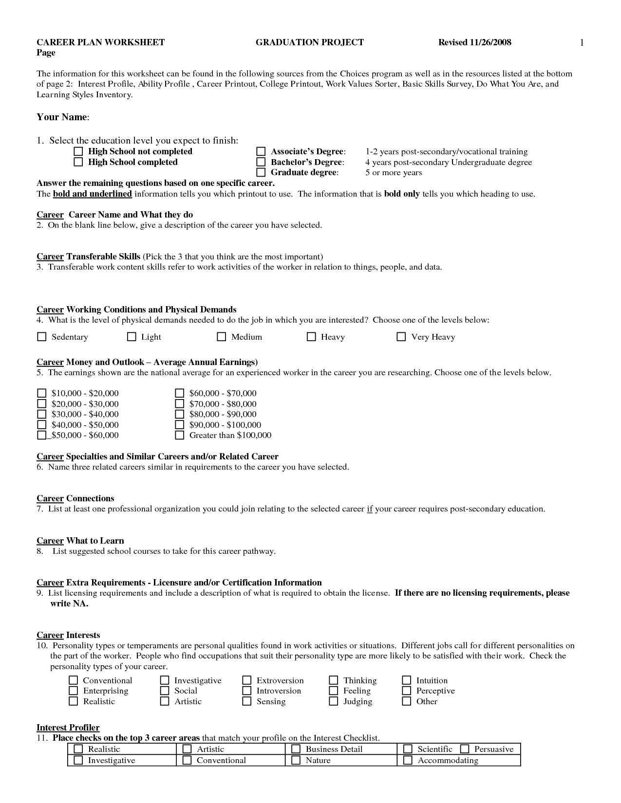 12 Best Images Of Career Activities Worksheets