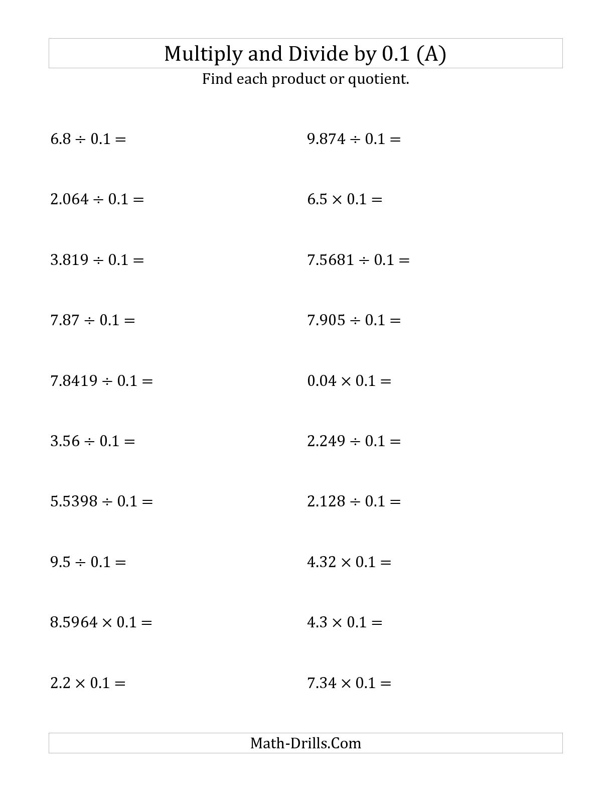 11 Best Images Of Dividing Decimals By Decimals Worksheet