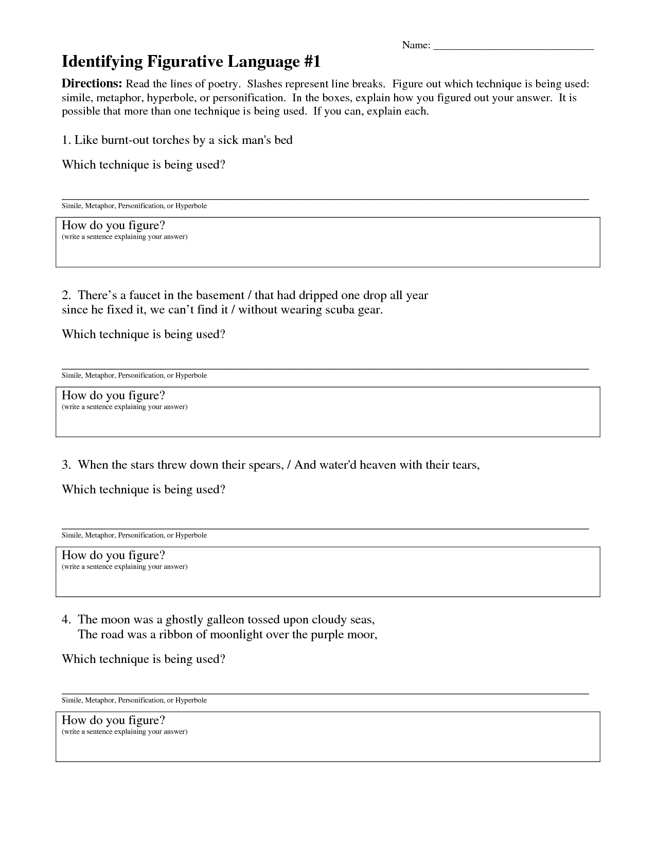 16 Best Images Of Figurative Language Worksheets Middle School