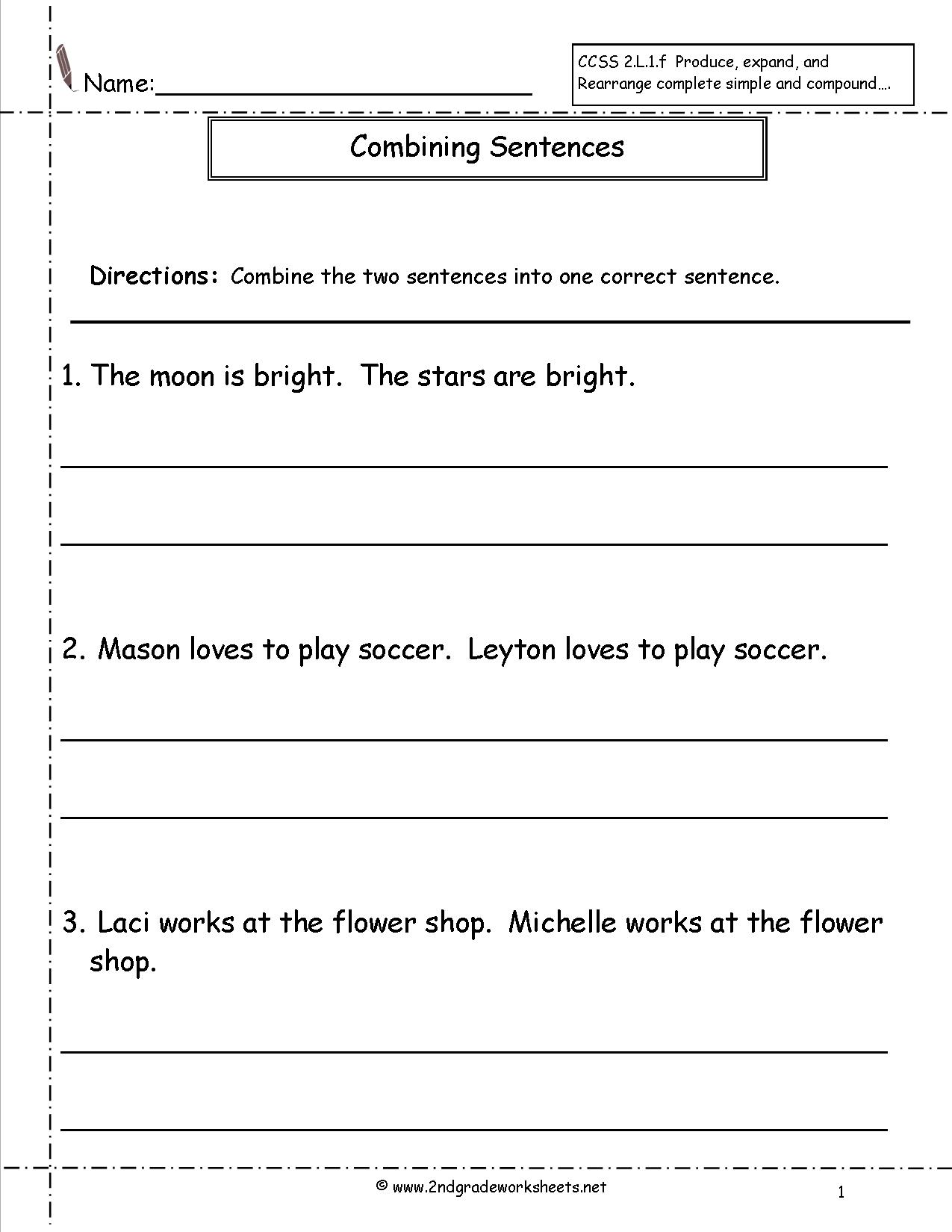 Sentence Worksheet Category Page 1