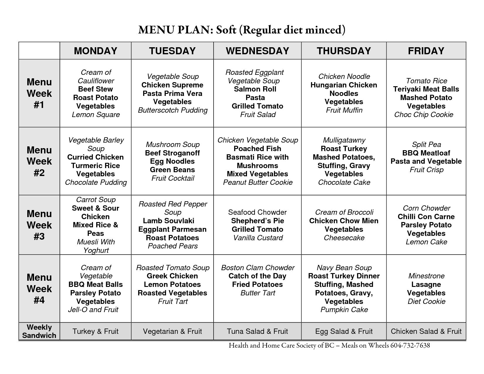 Healthy Meal Planning Worksheet