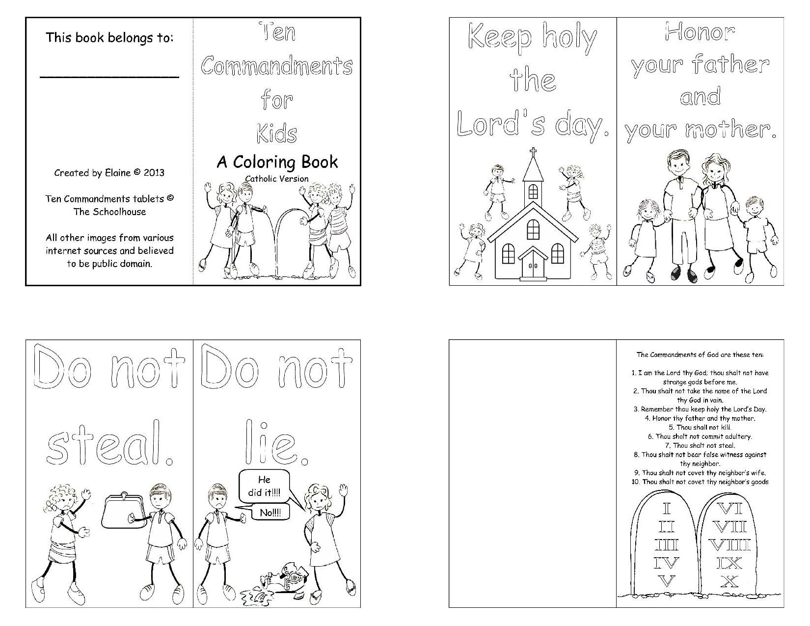 Catholic Ten Commandments Printable That Are Playful