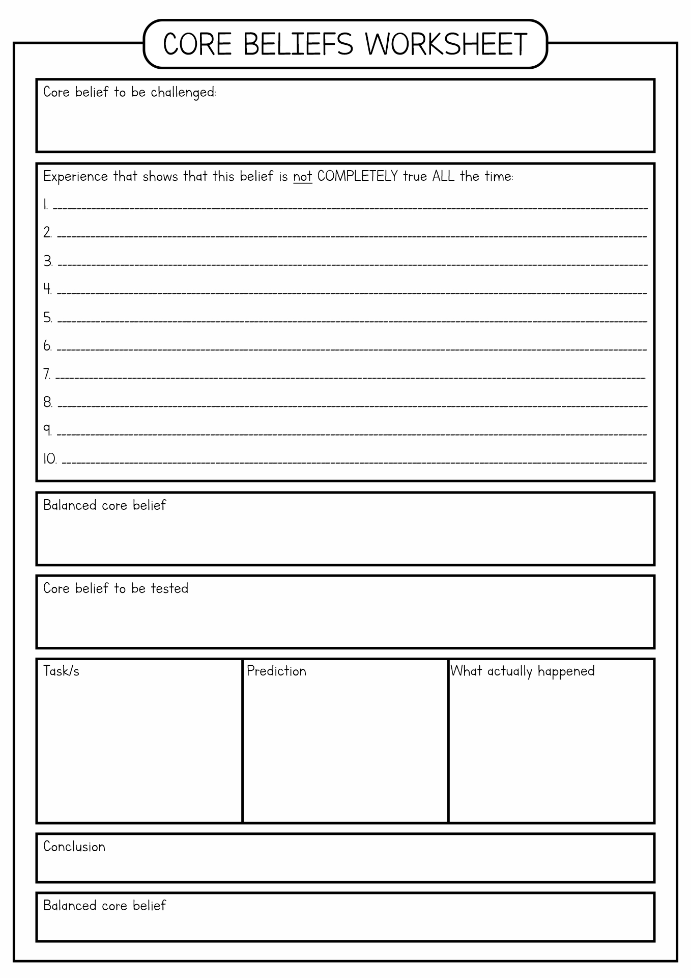 Changing Core Beliefs Worksheet