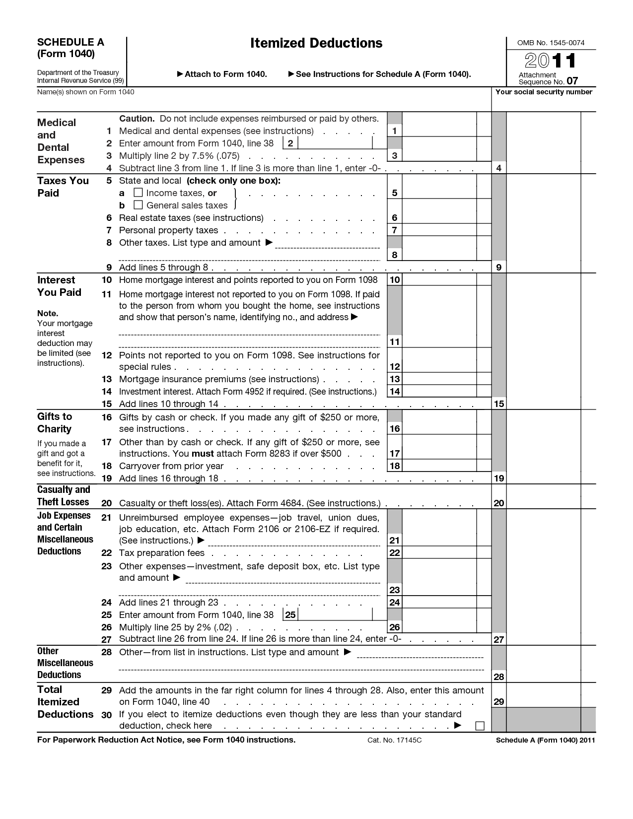 Irs Standard Deduction Worksheet Form