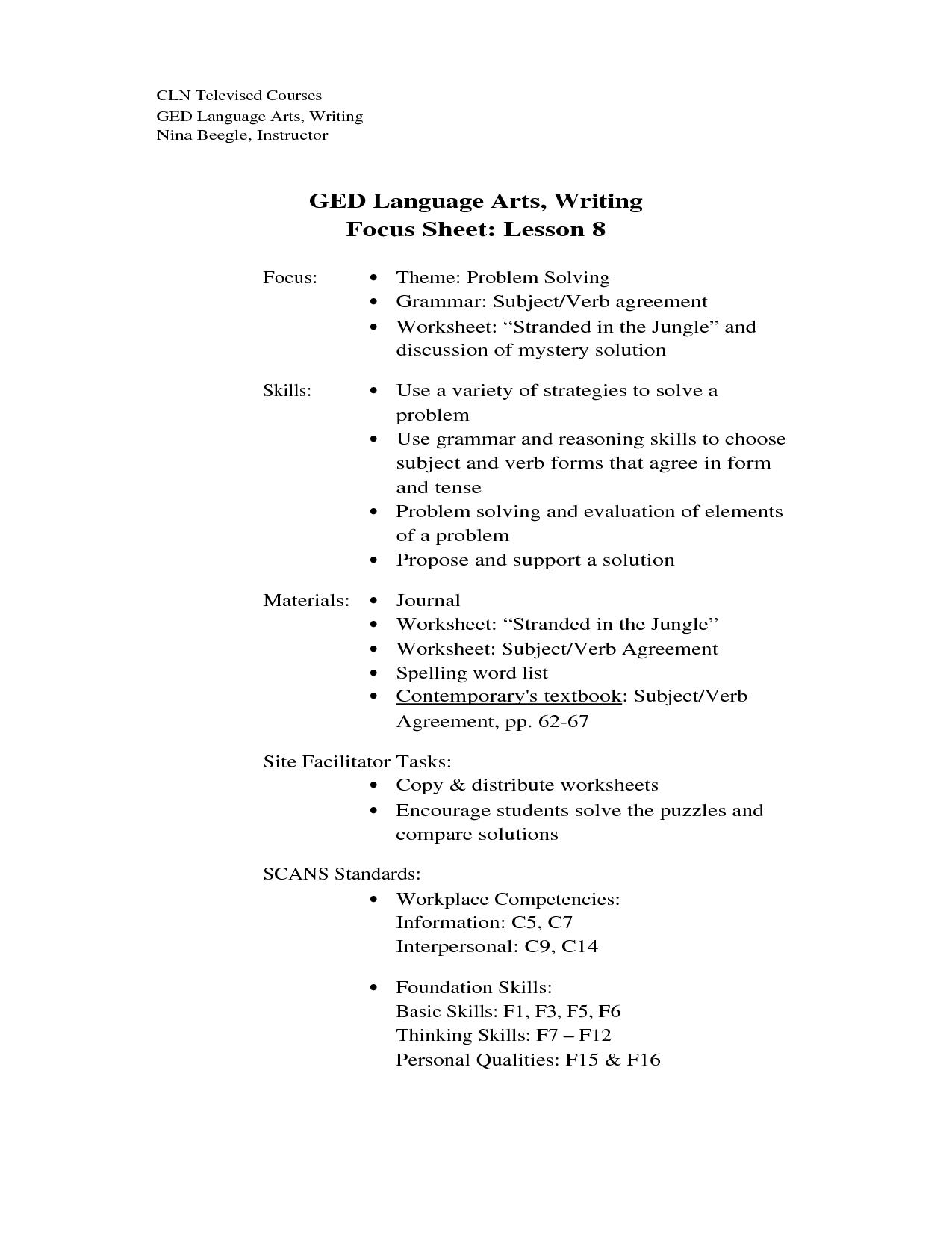 Ged Algebra Worksheet Doc