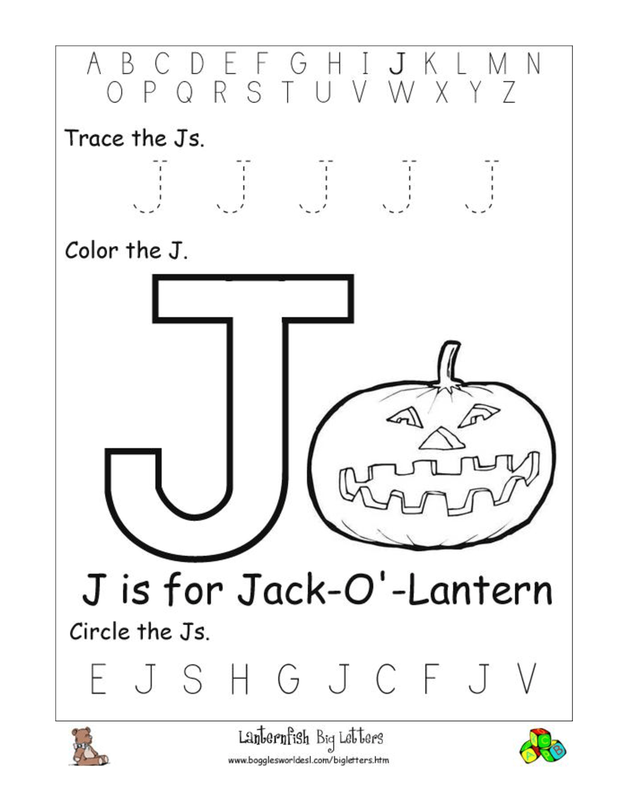 Preschool Worksheet J For Jaybird