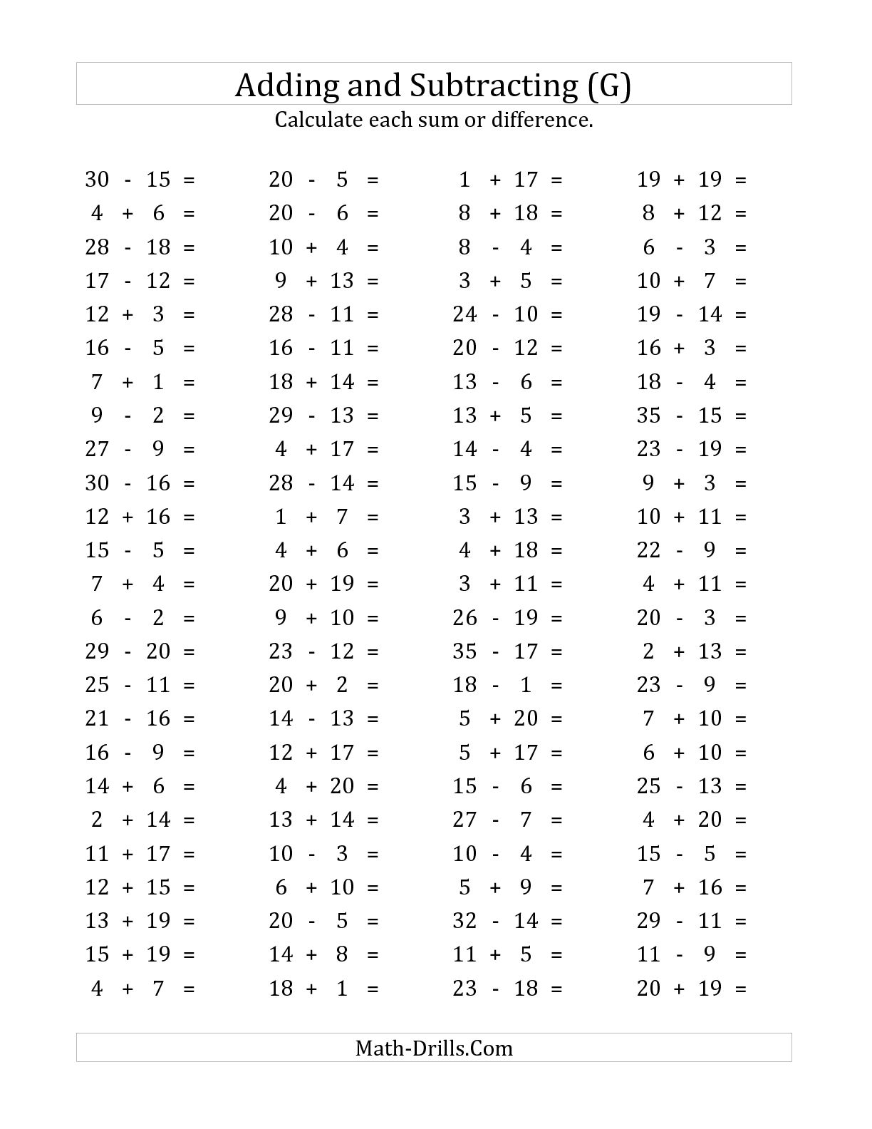 Worksheet Subtraction Facts To 20
