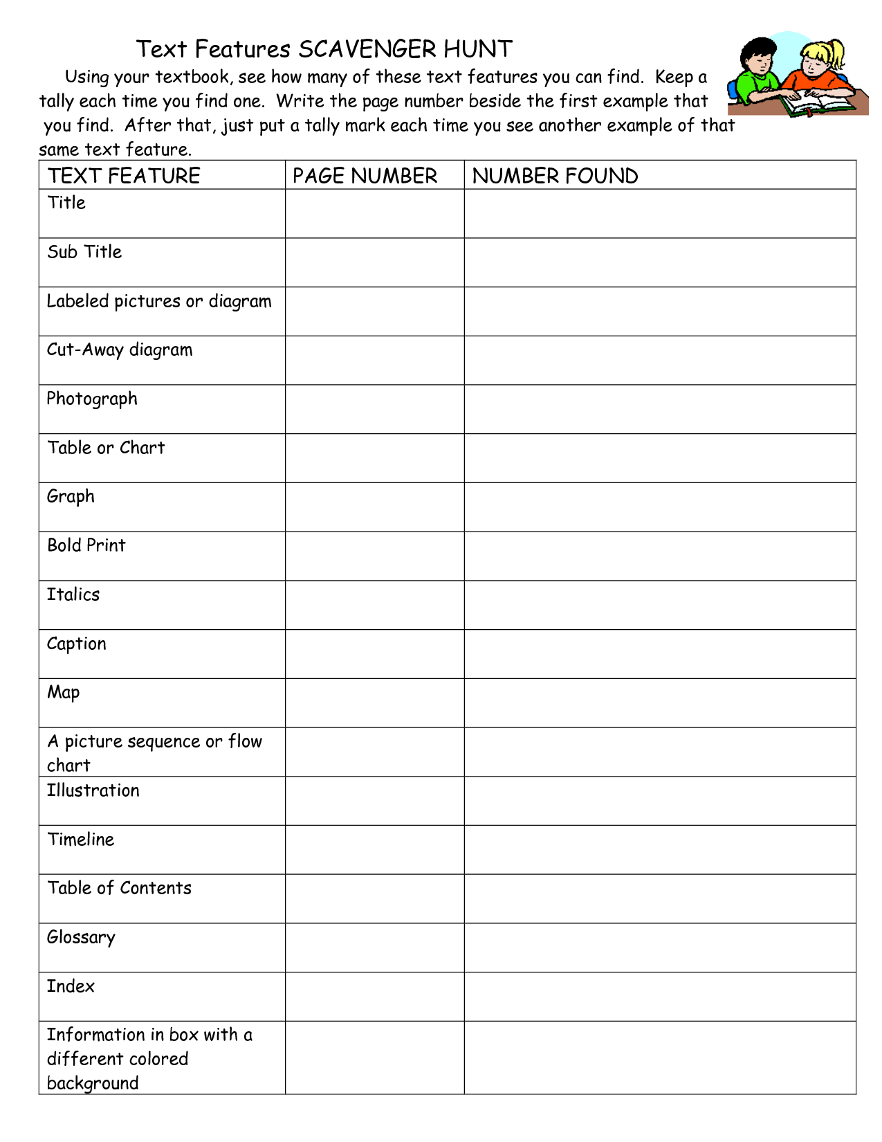 15 Best Images Of Informational Text Features Worksheets