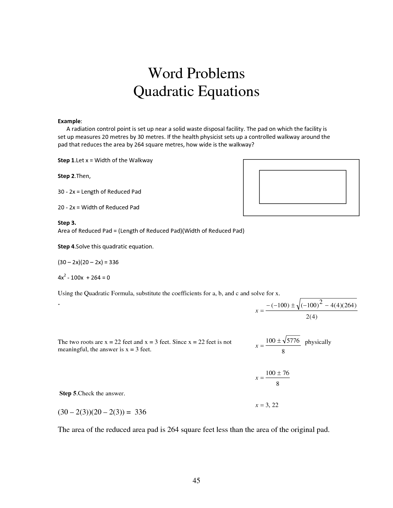 Solving Word Problems With Quadratic Equations Worksheet