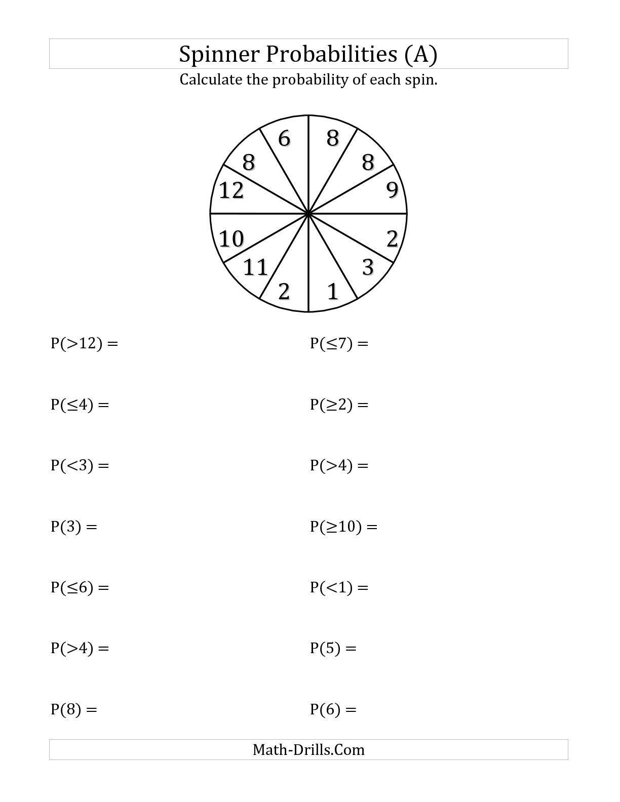 10 Best Images Of Spinner Math Worksheet