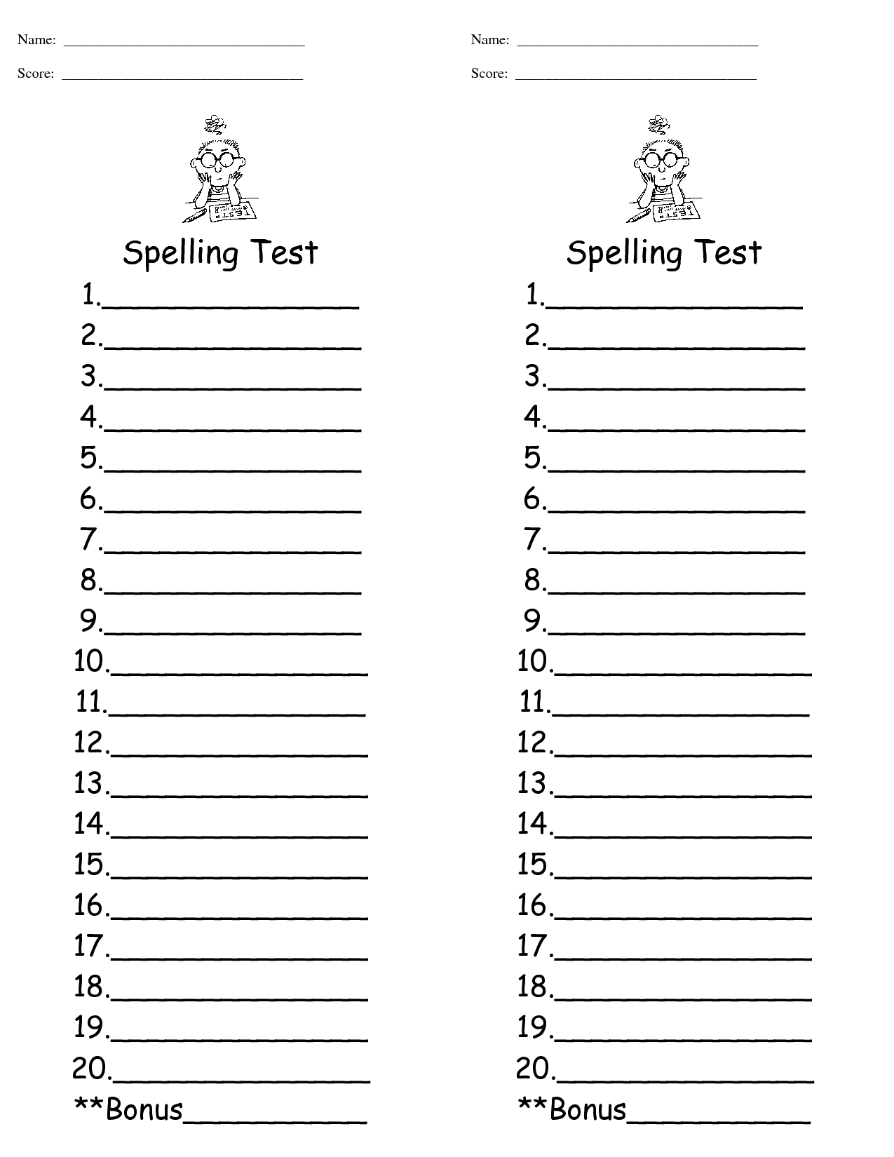 Spelling Dictation Worksheet