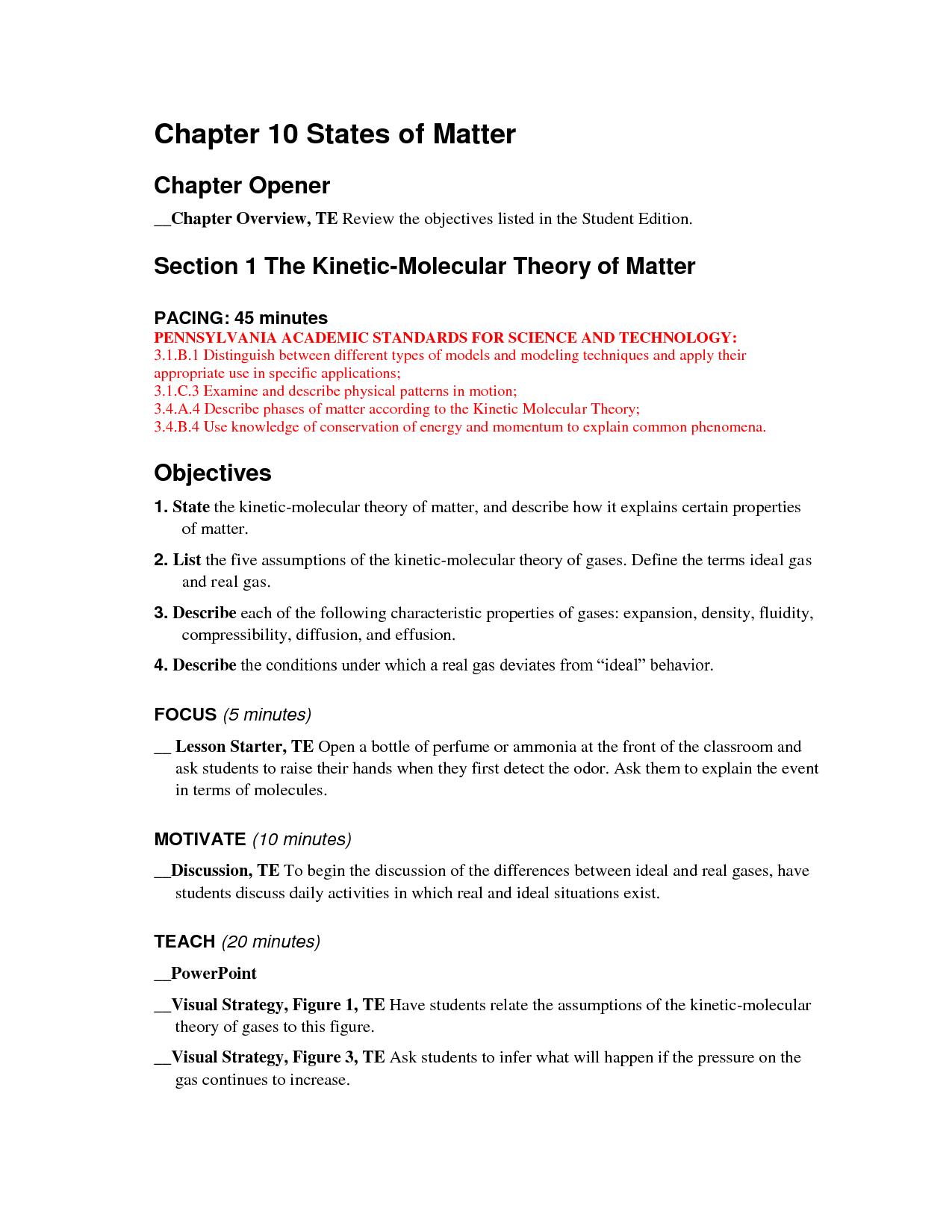 Density Review Worksheet Answer Key
