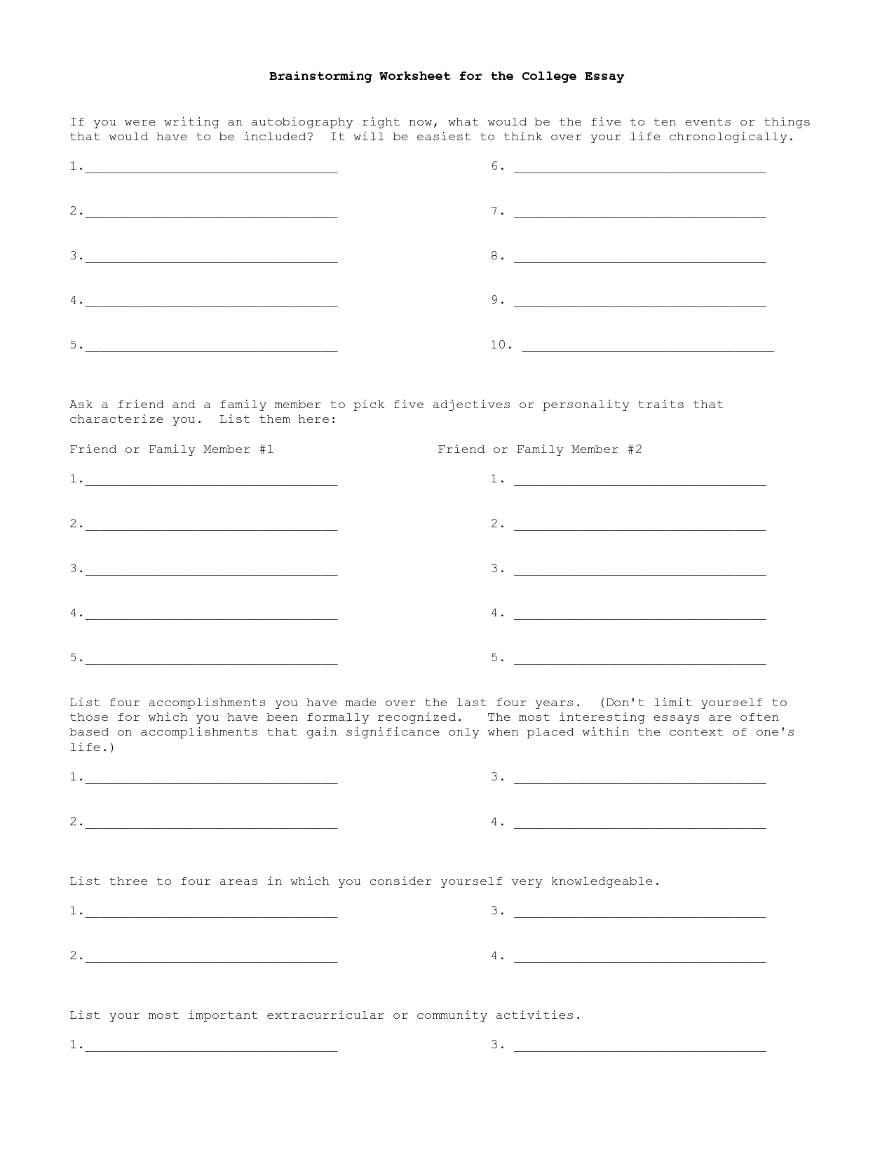 Essay Writing Brainstorming Worksheets