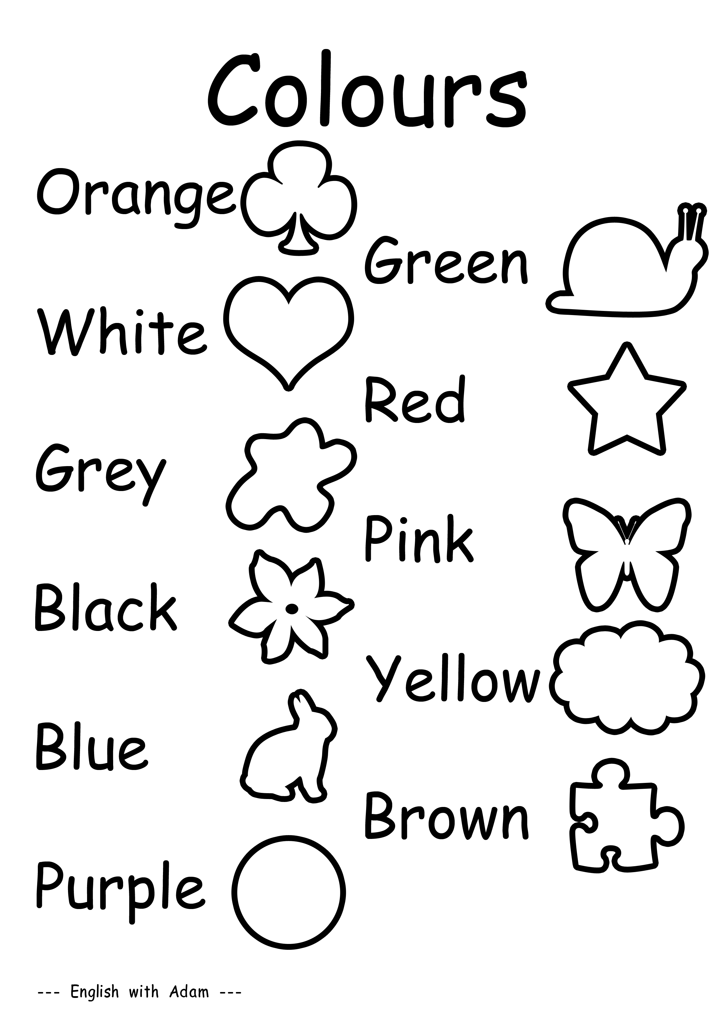 12 Best Images Of English Colors Worksheet