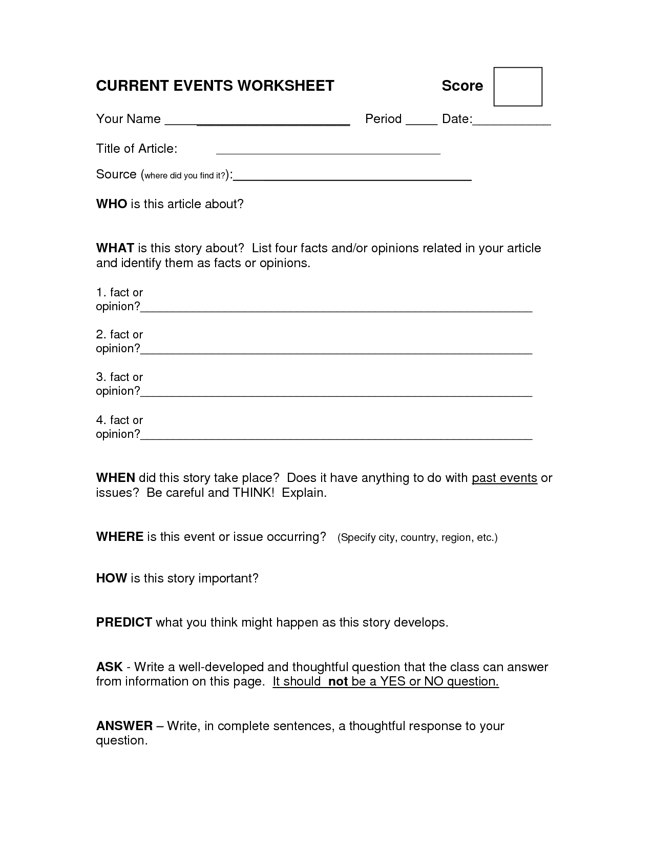 18 Best Images Of Current Events Worksheet Template Elementary