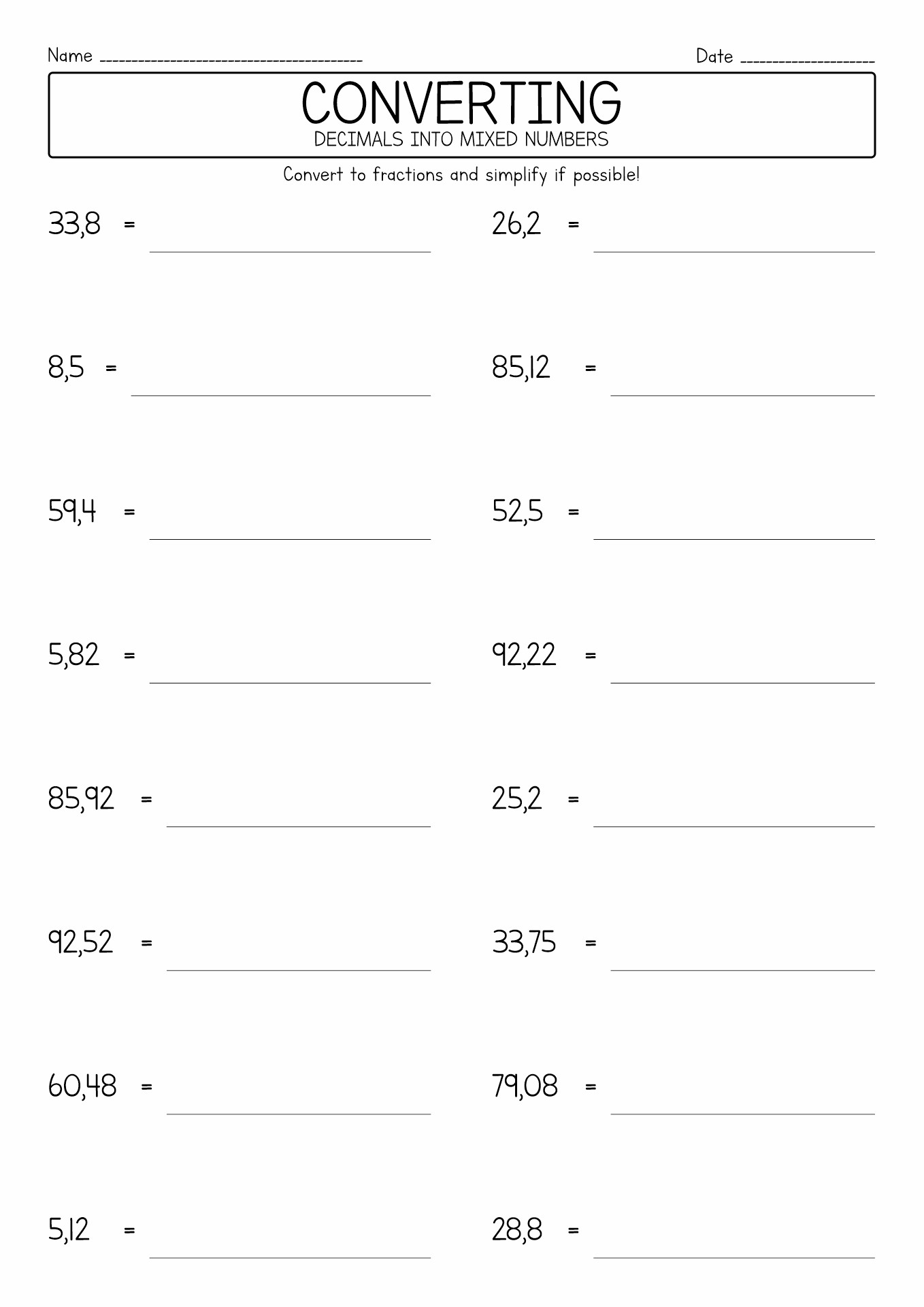 12 Best Images Of Printable Fraction Decimal Percent