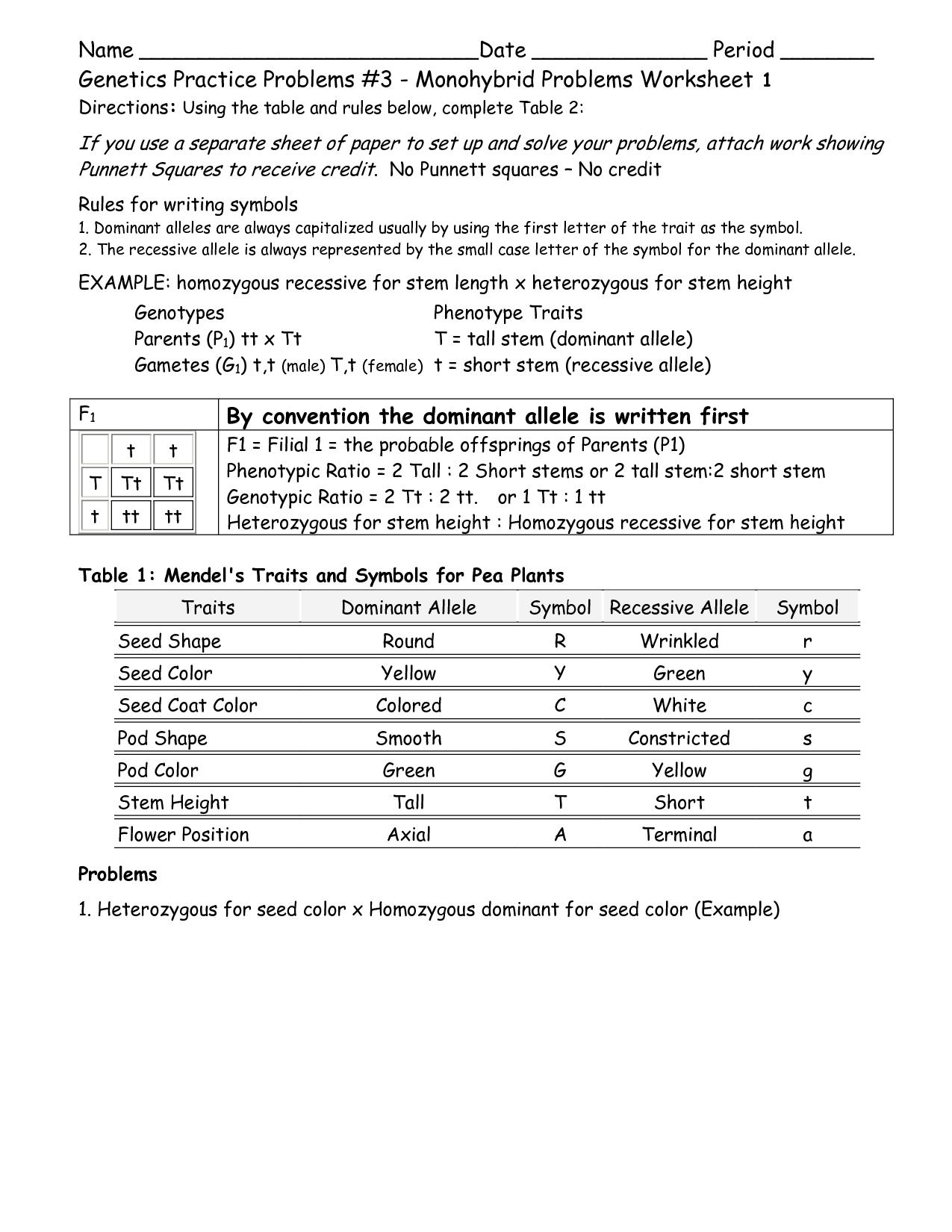 Mendel Genetics Worksheet
