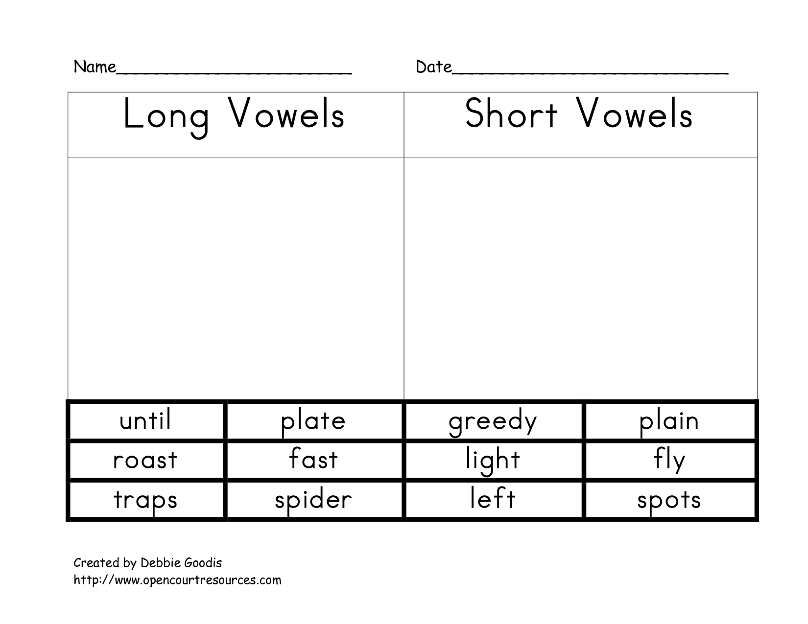 Short Vowel Worksheet For Adults