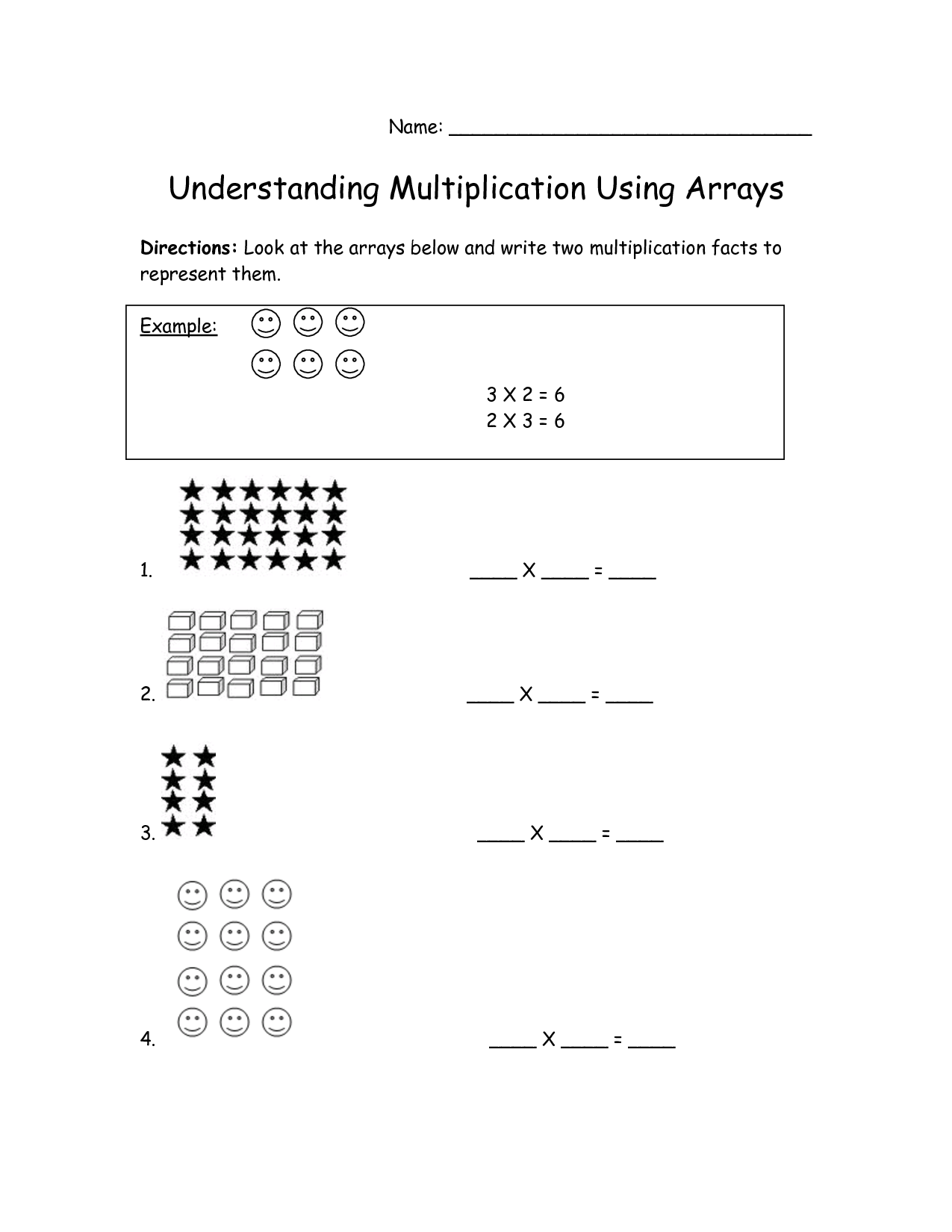 A Array Multiplication 3rd Grade