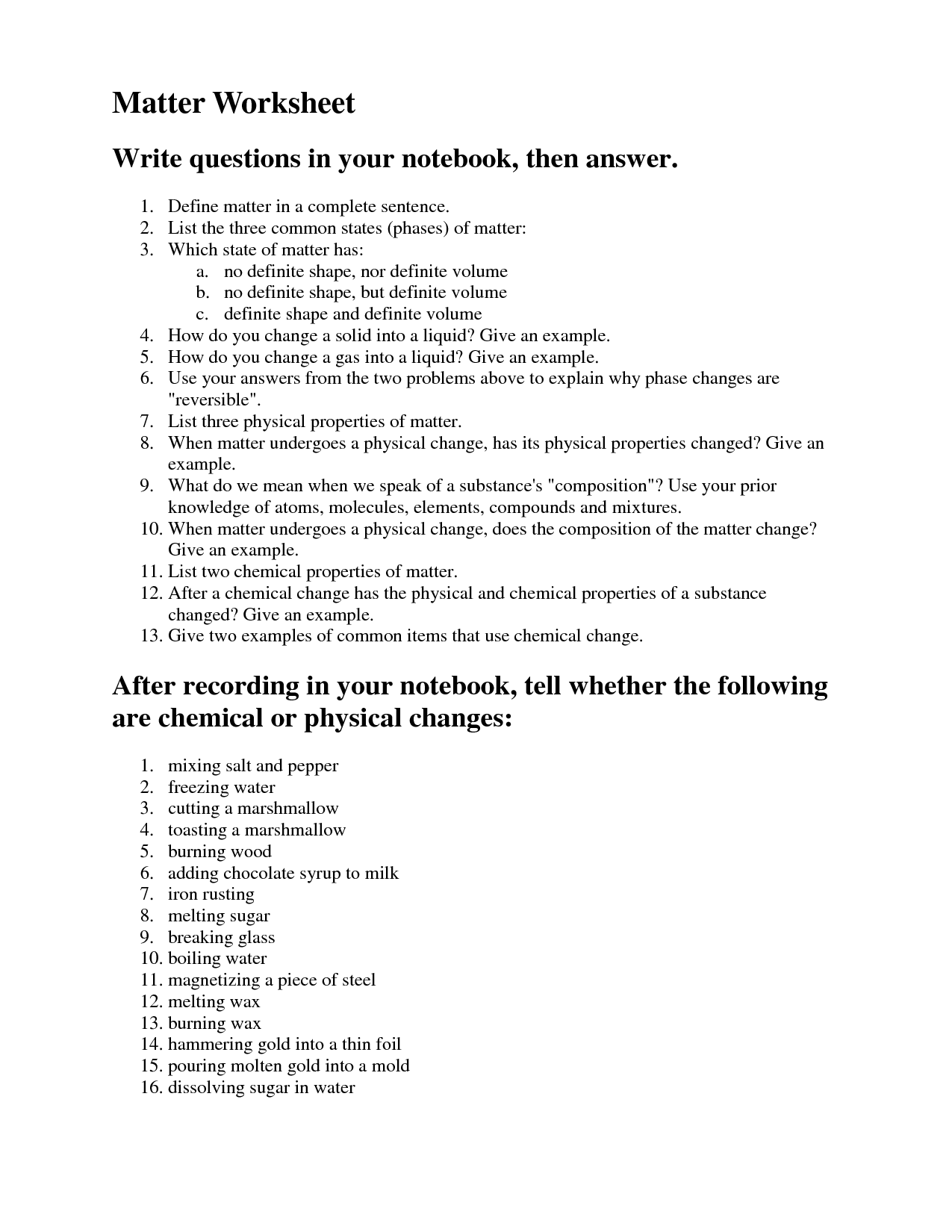 12 Best Images Of States Of Matter Worksheet Answer Key