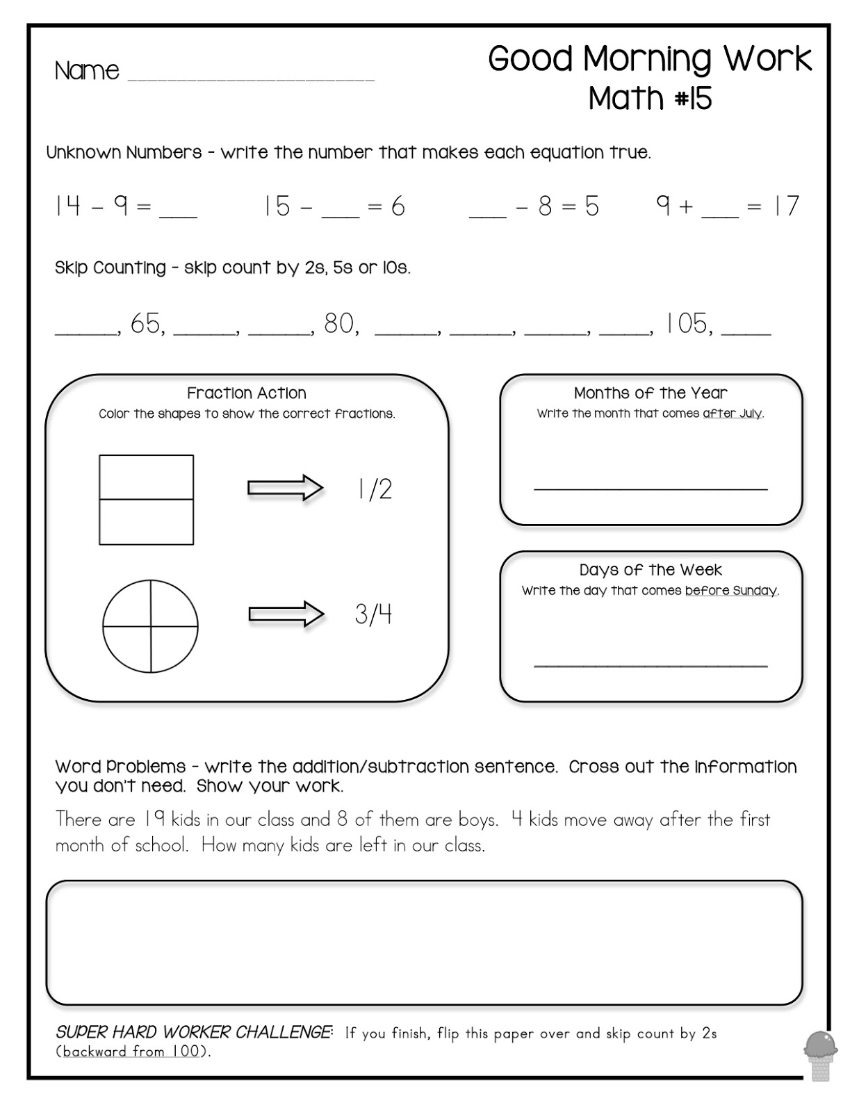 Kindergarten Morning Work Worksheet For Journeys