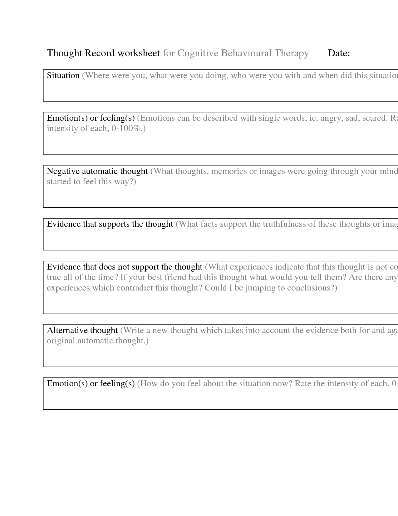 11 Best Images Of Thought Record Worksheet