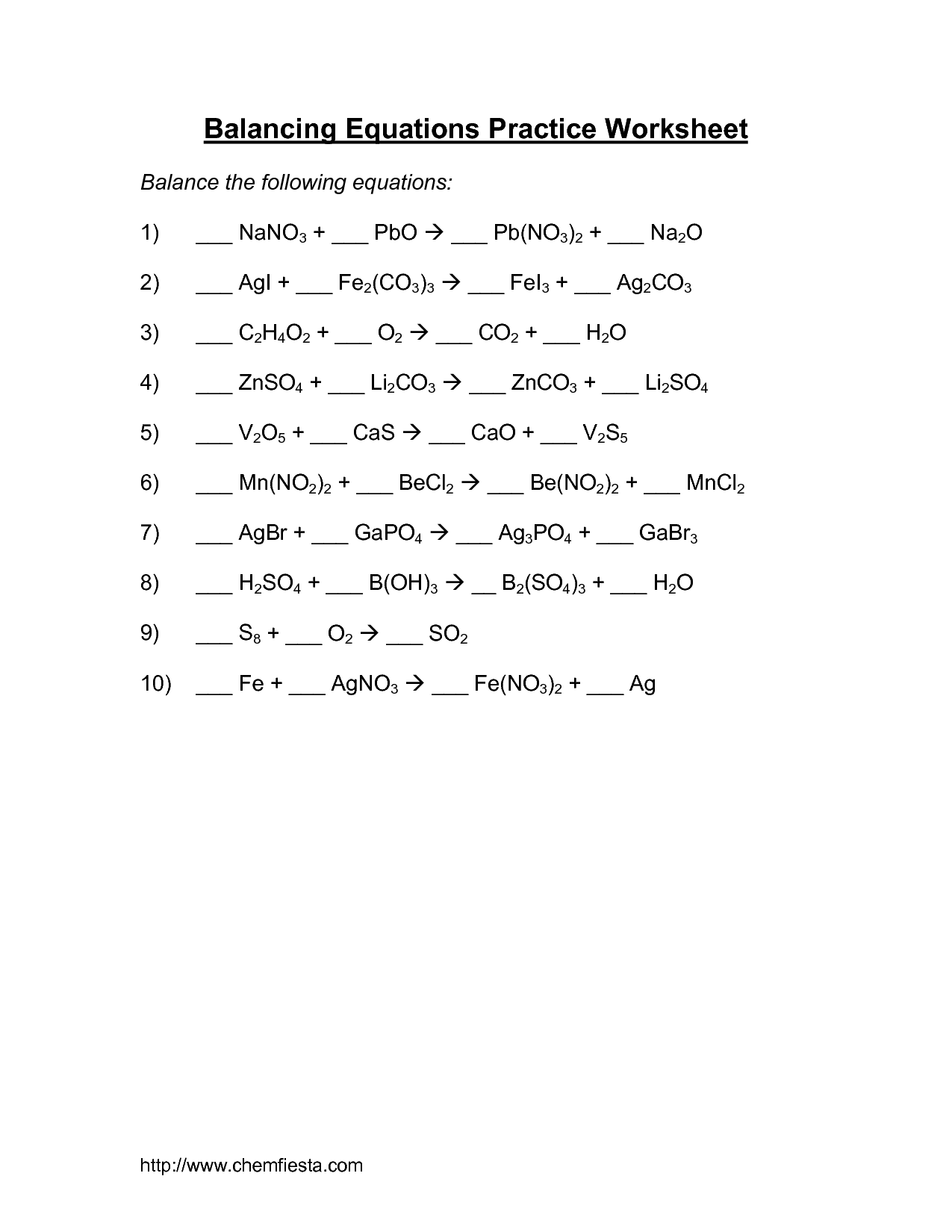 16 Best Images Of Practice Balancing Equations Worksheet Answer Key