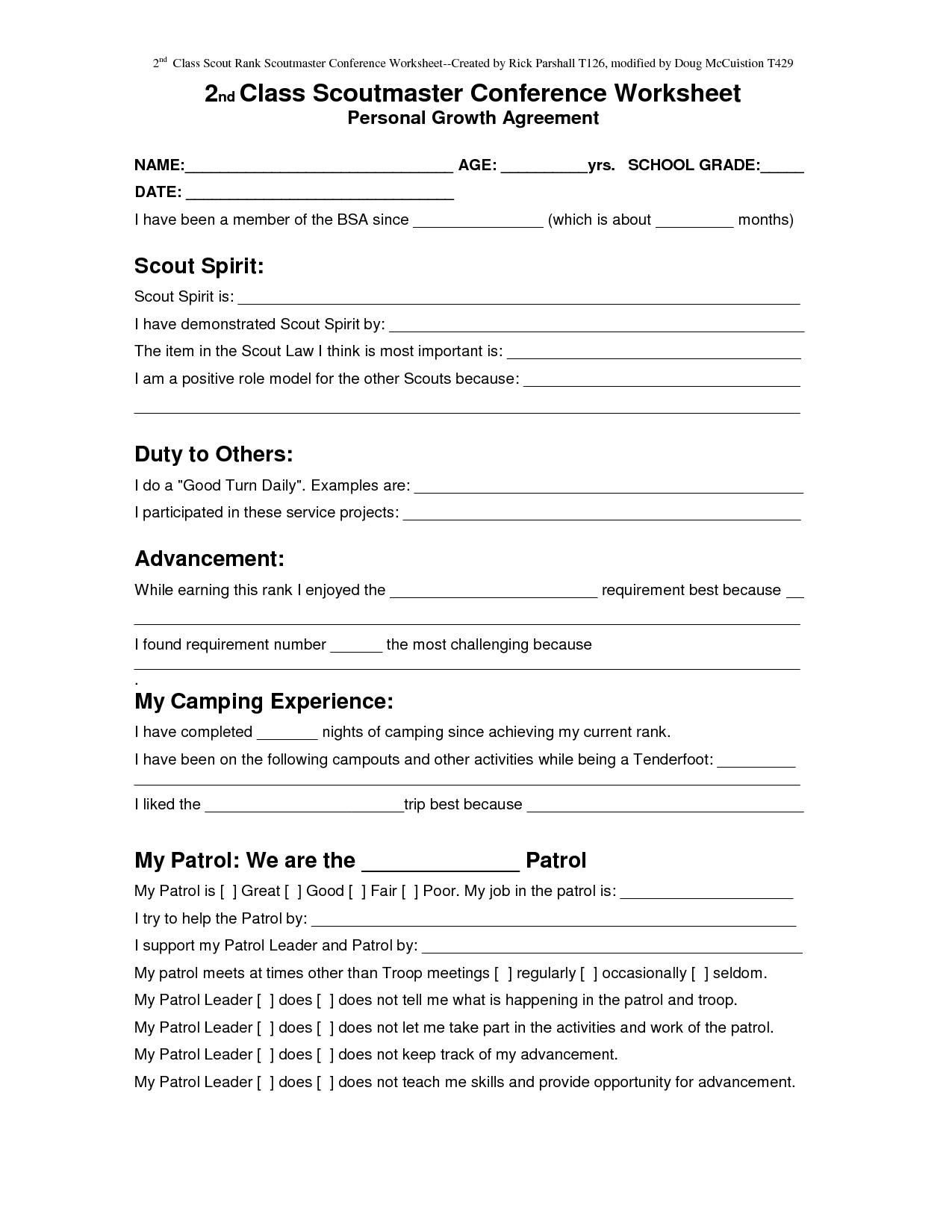 Boy Scout Rank Advancement Form