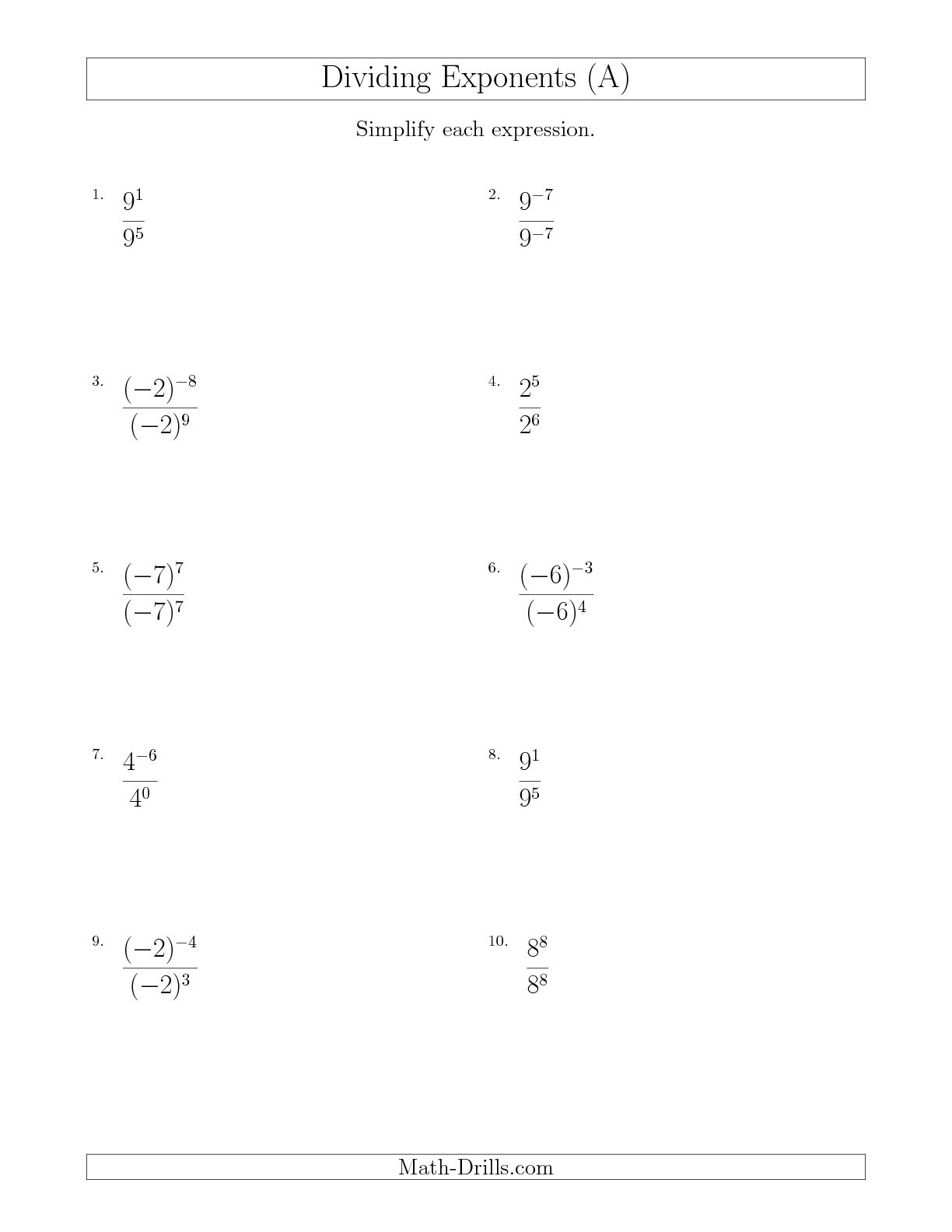 19 Best Images Of Negative Exponent Worksheets