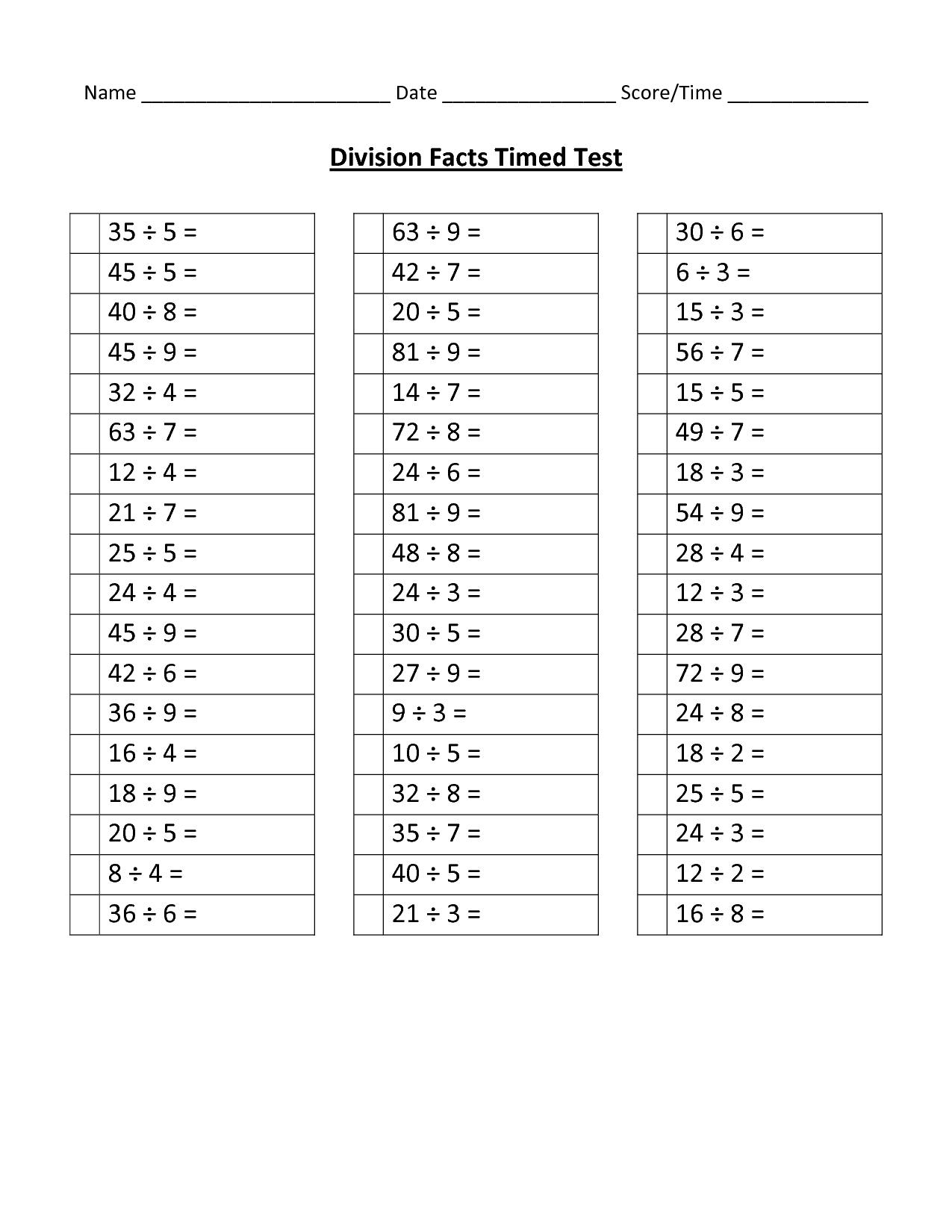 14 Best Images Of 100 Division Facts Timed Test Worksheet