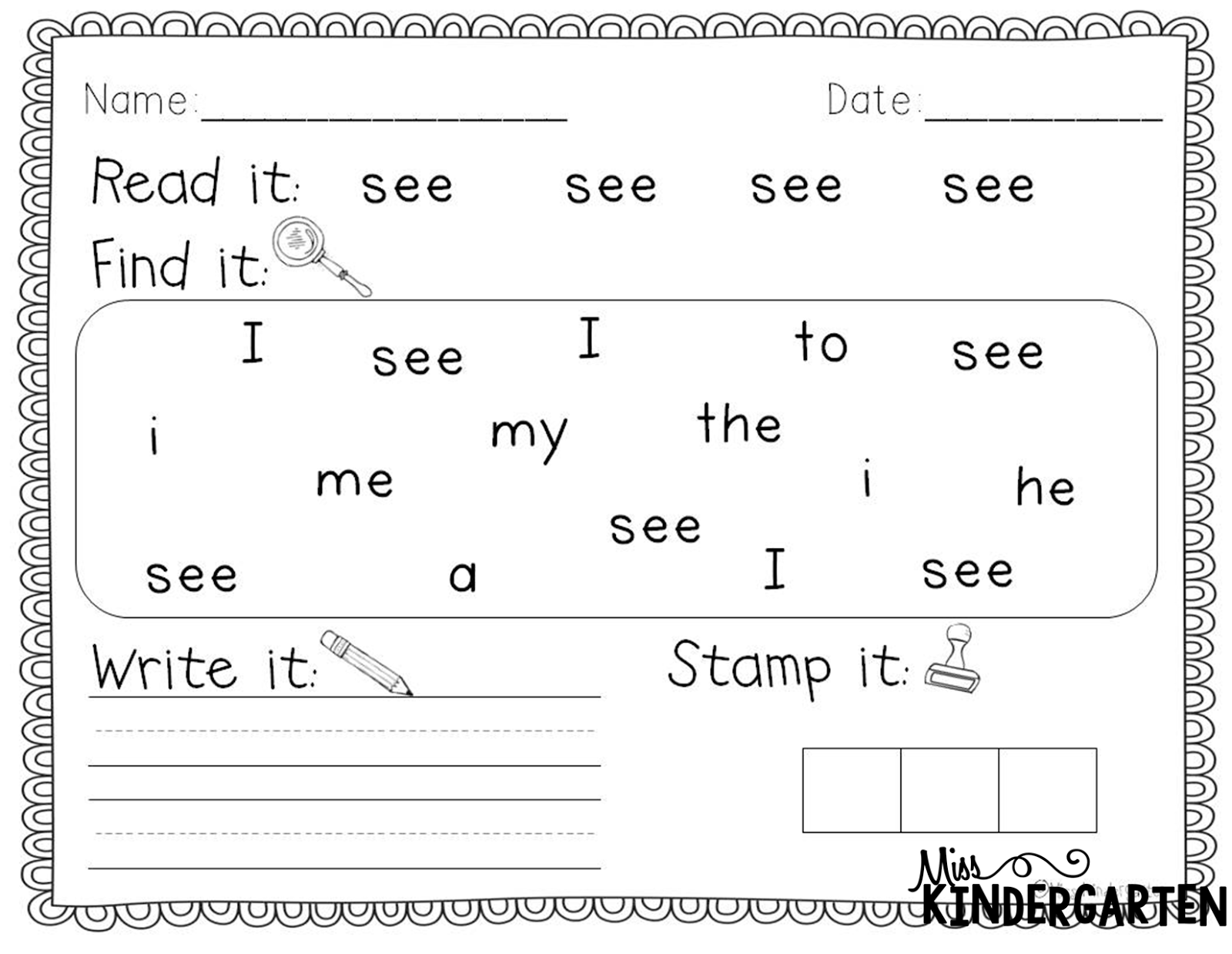 15 Best Images Of Free First Grade Sight Words Worksheets