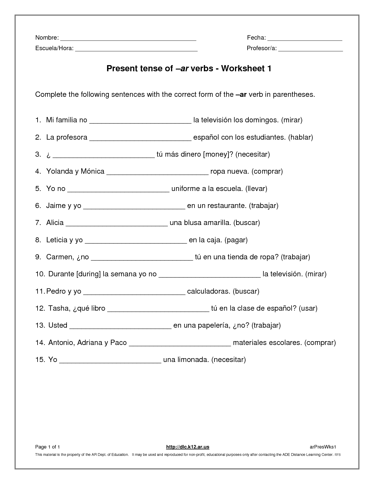 12 Best Images Of Simple Present Tense Worksheets