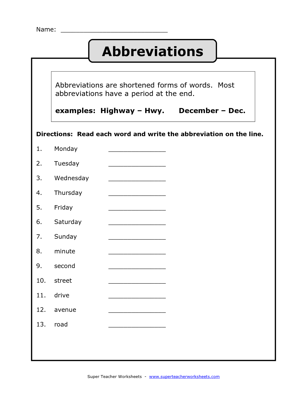 Abbreviation Worksheet Grade 2