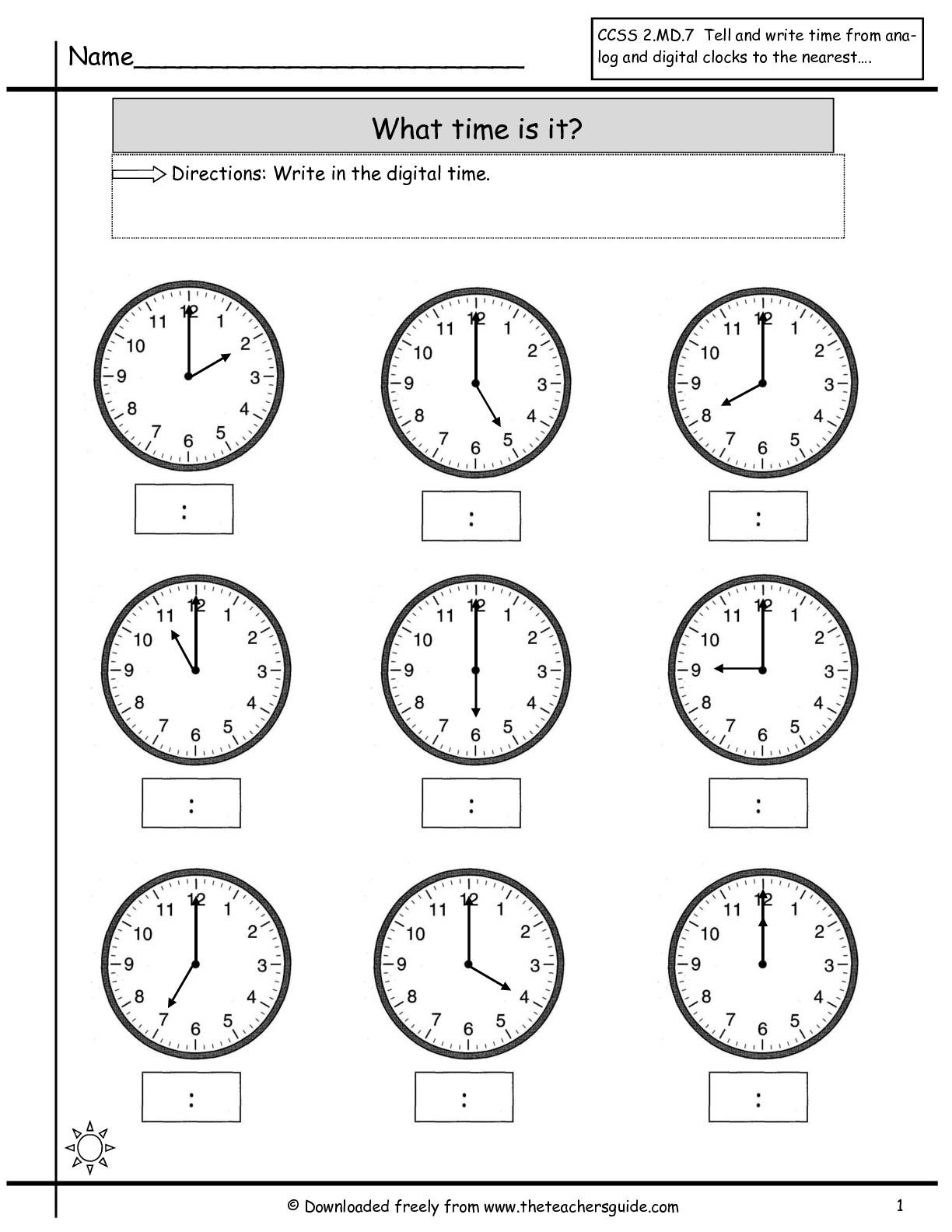 17 Best Images Of Clock Worksheets For Second Grade