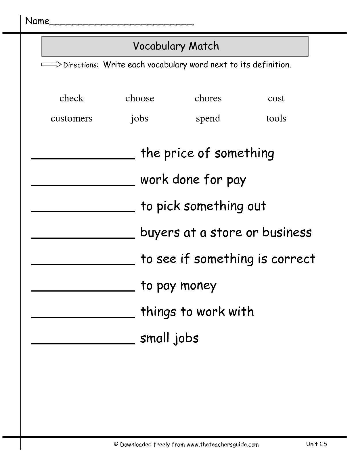 2nd Grade Vocabulary Test Worksheets