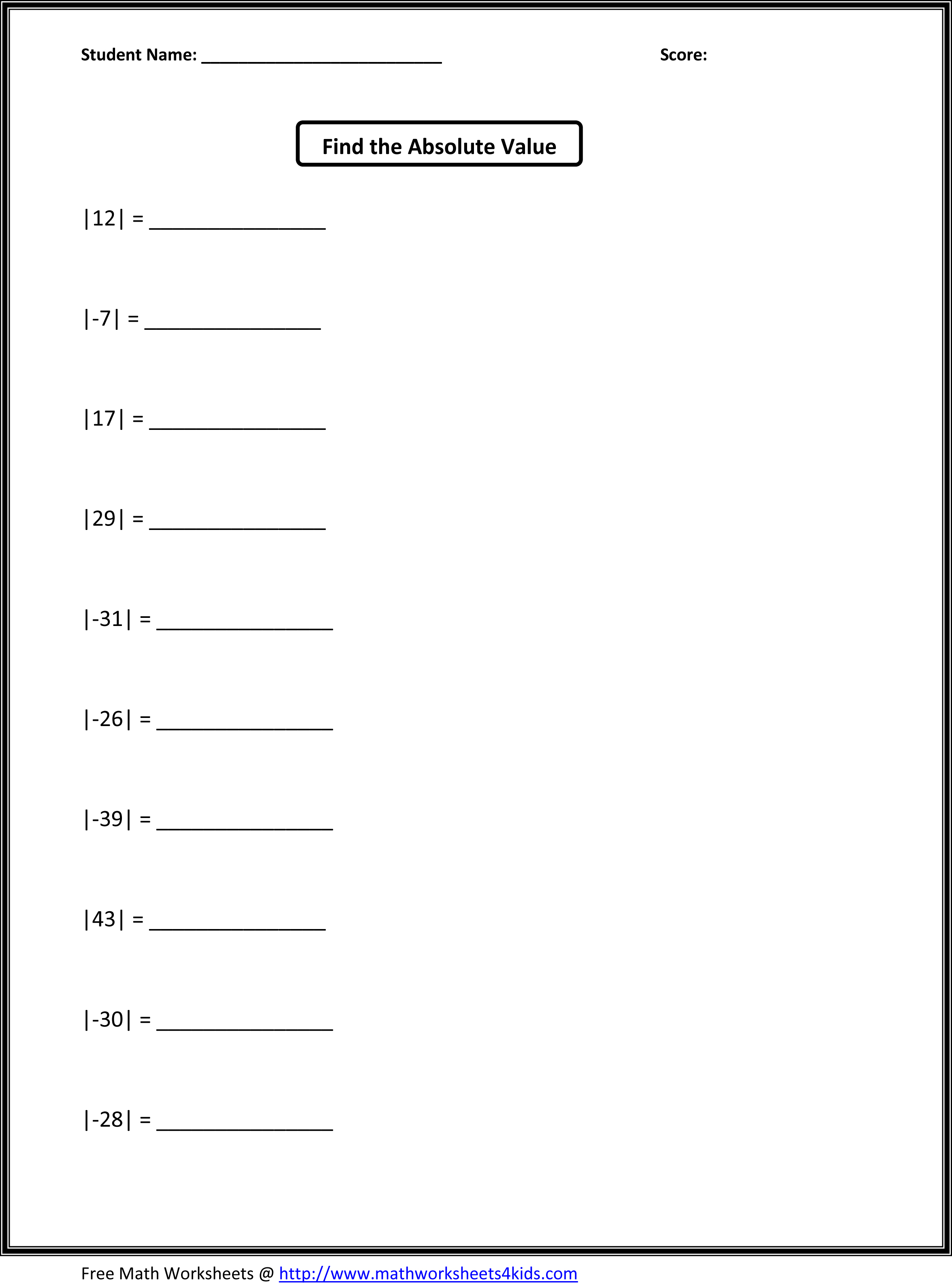 Math Function Worksheet For 6th Grade