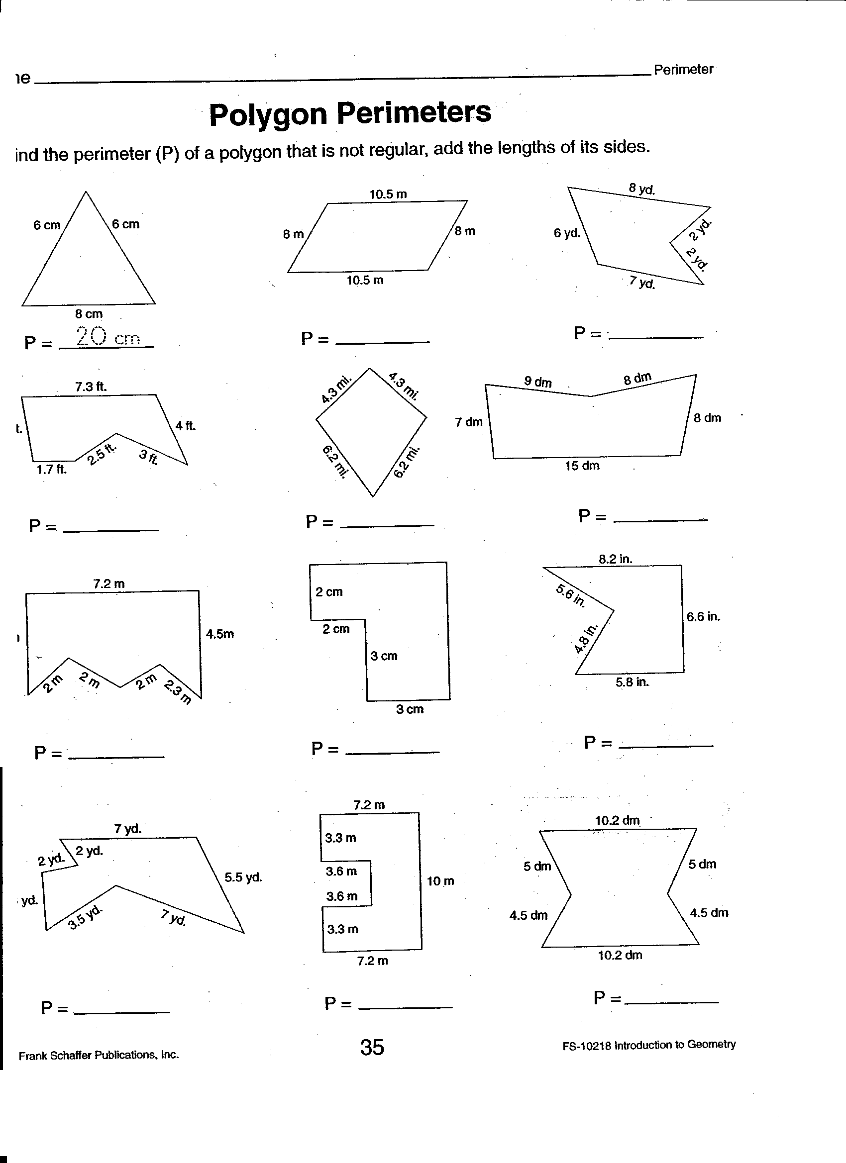 Rectangle Area And Perimeter Worksheet Answers