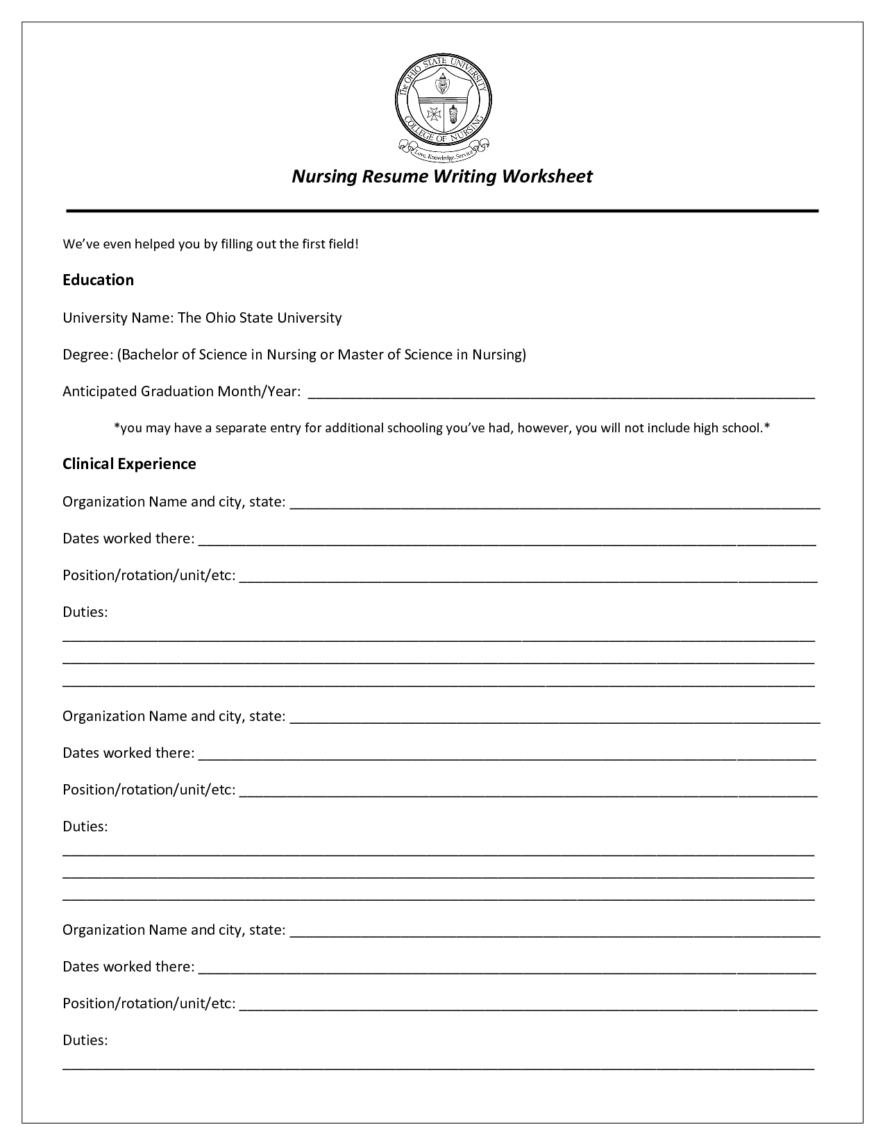 19 Best Images Of Resume Format Worksheet