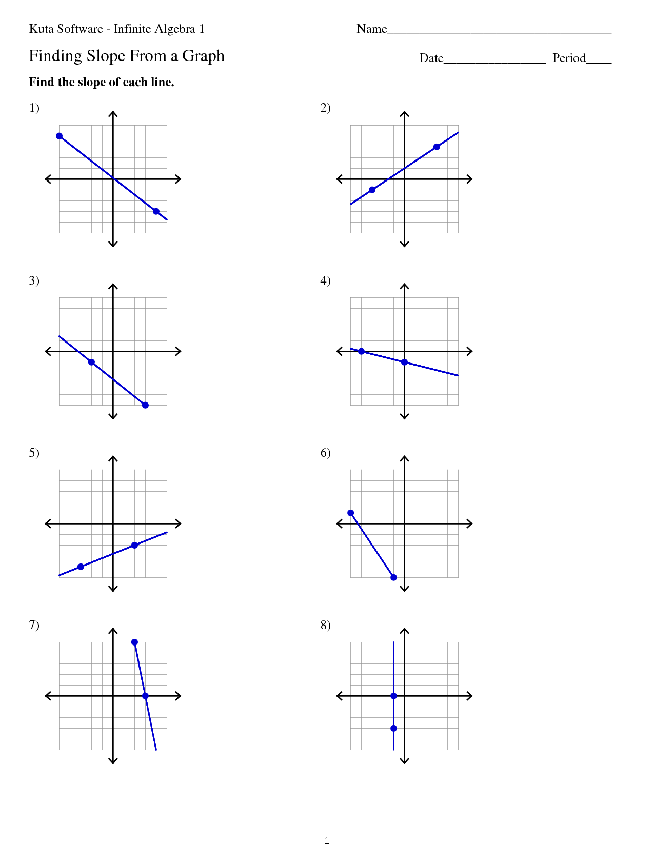 Finding The Slope Of A Line Worksheet Kuta