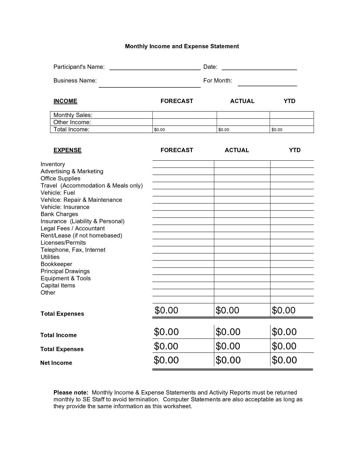 12 Best Images Of Income Expense Monthly Budget Worksheet