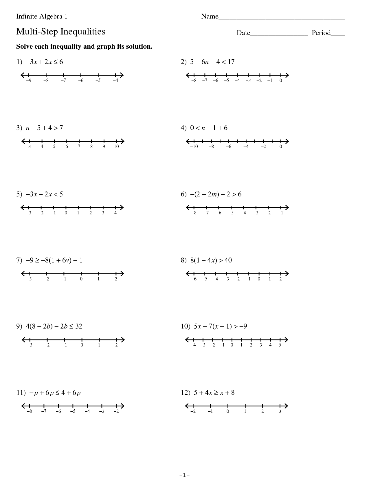 Solving And Graphing Inequalities Worksheet With Answers