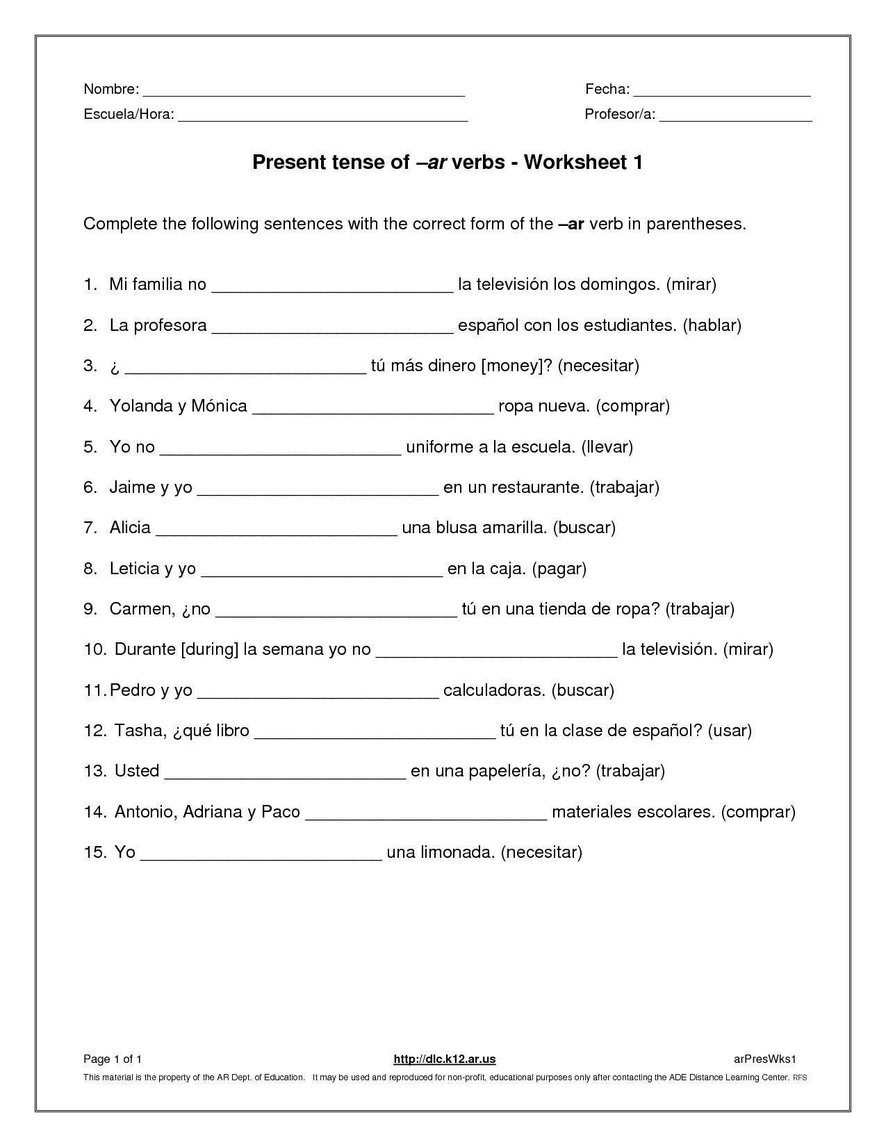 Spanish Imperfect Worksheet