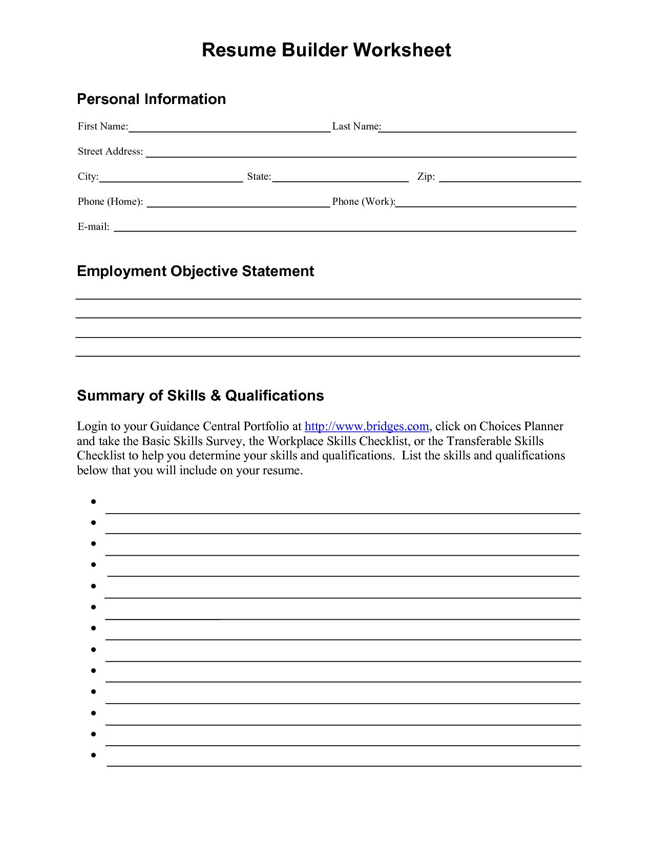 19 Best Images Of Resume Format Worksheet