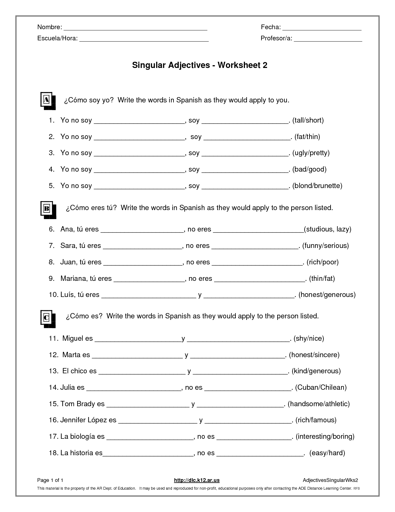 Worksheet On Demonstrative Adjectives In Spanish