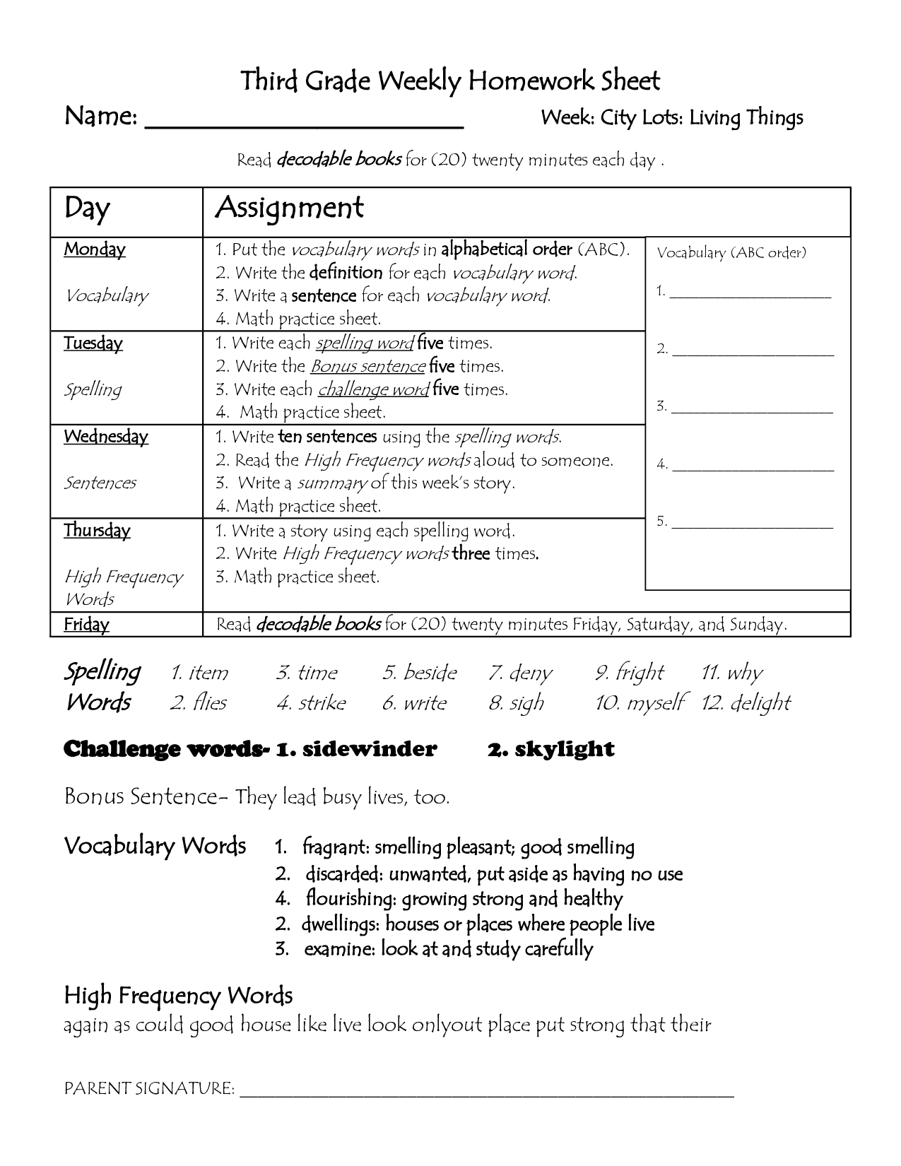 Printable Homework Pages For 2nd Grade