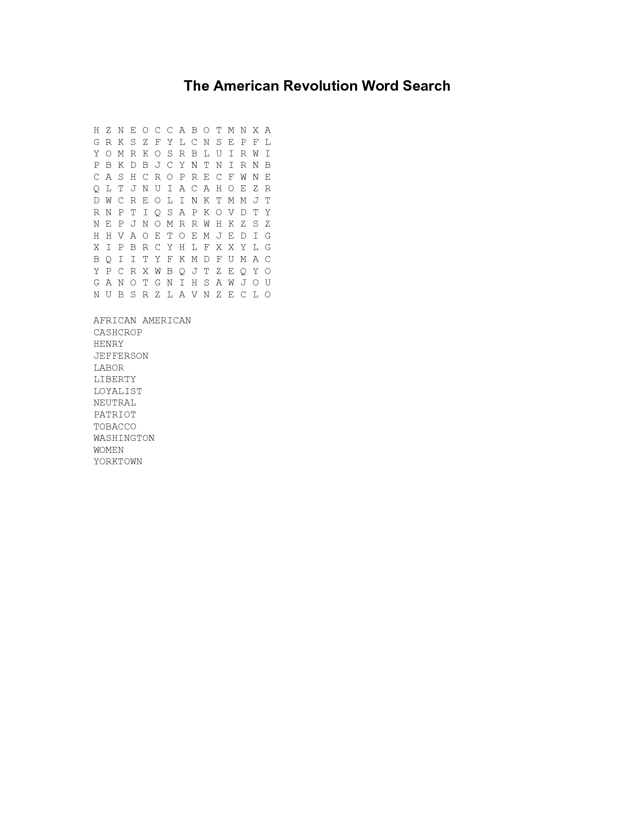 14 Best Images Of American Revolution Word Search